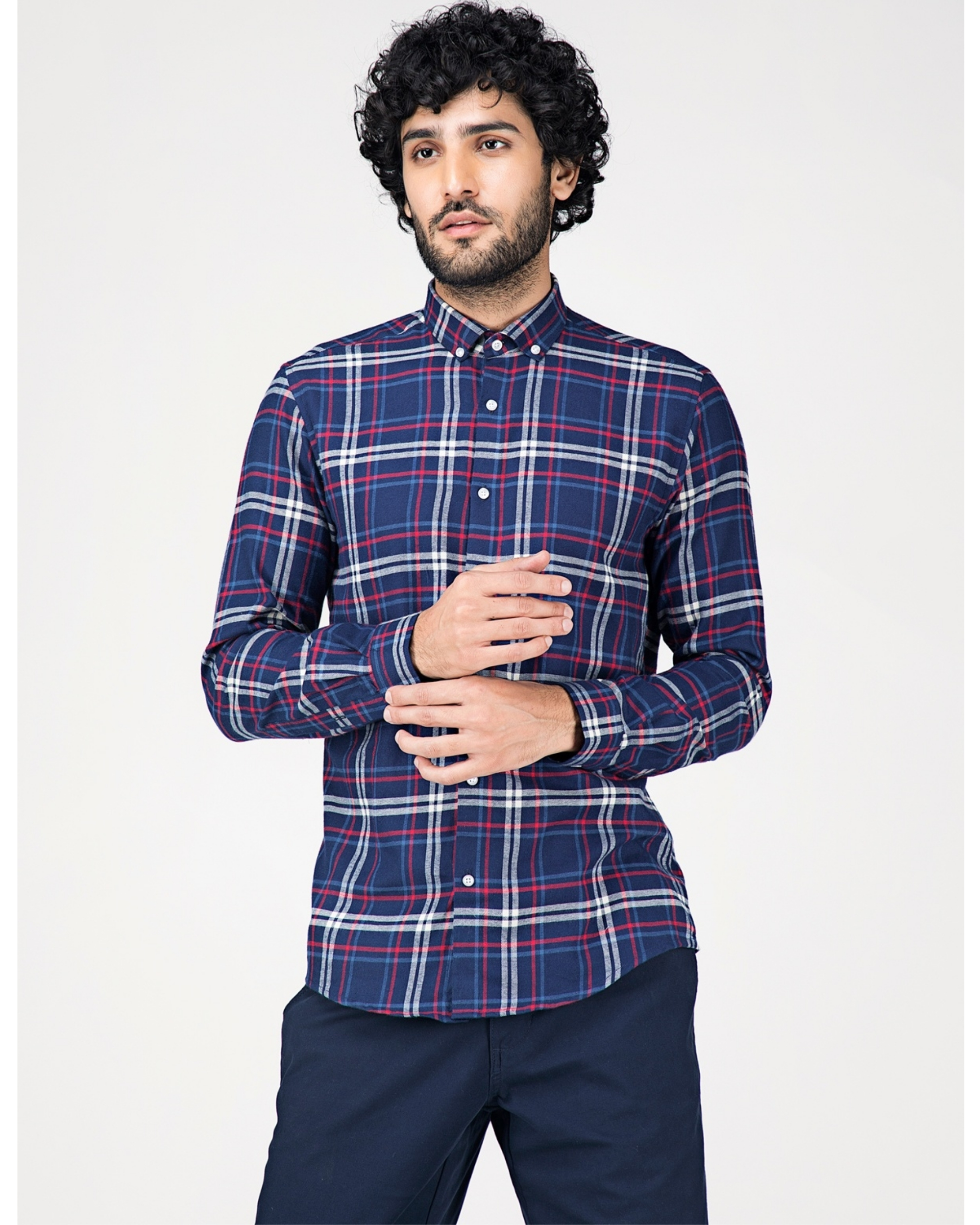 Blue and white tartan checkered shirt