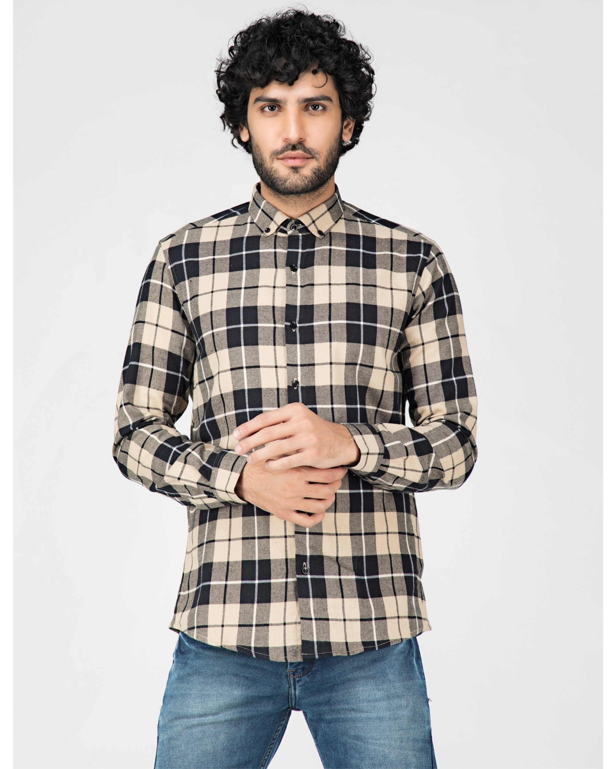 Beige and black tartan checkered shirt