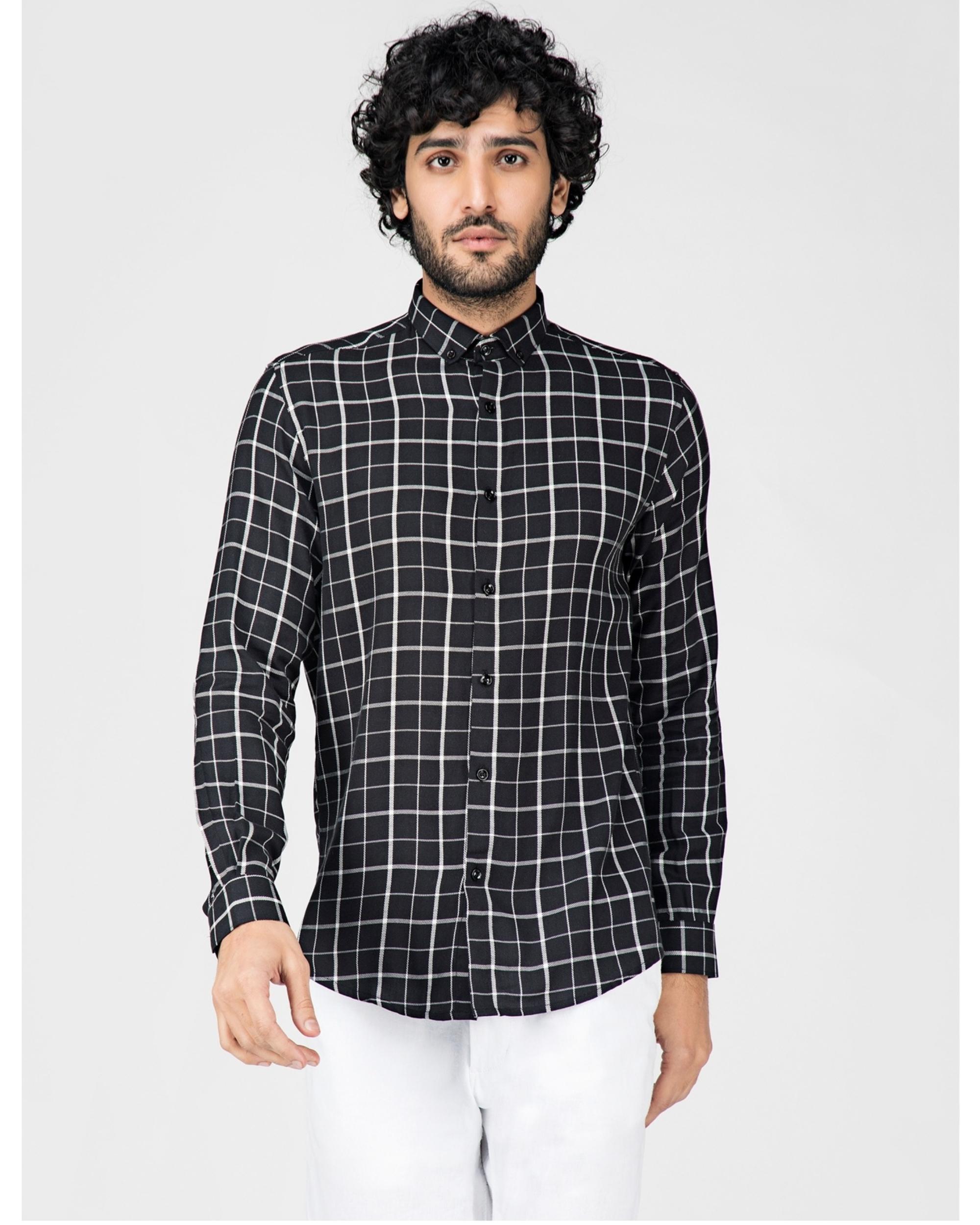 Black and white graph checkered shirt