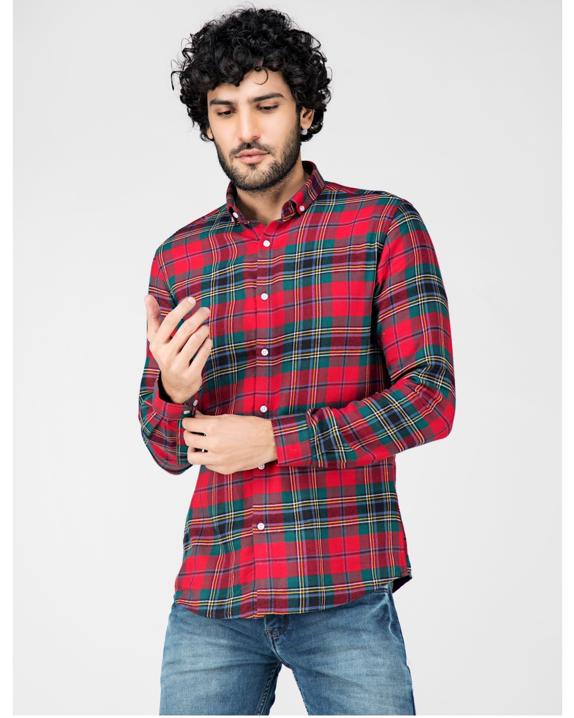 Red and green school plaid shirt
