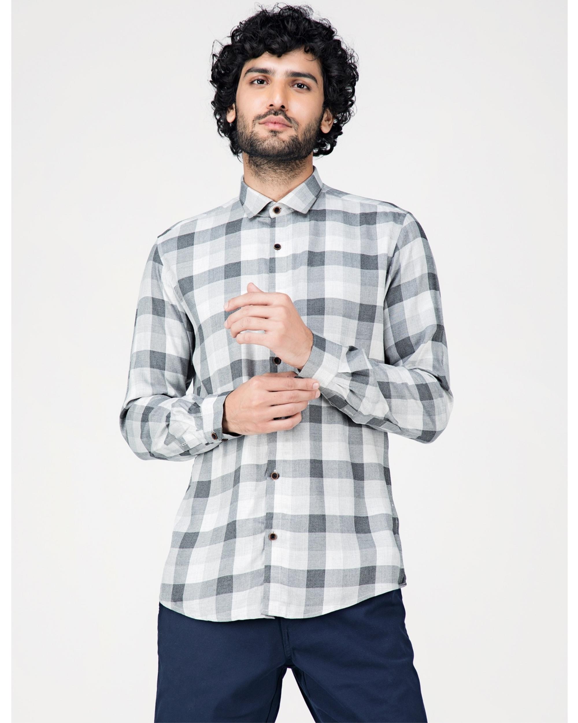 Grey and white gingham checkered shirt