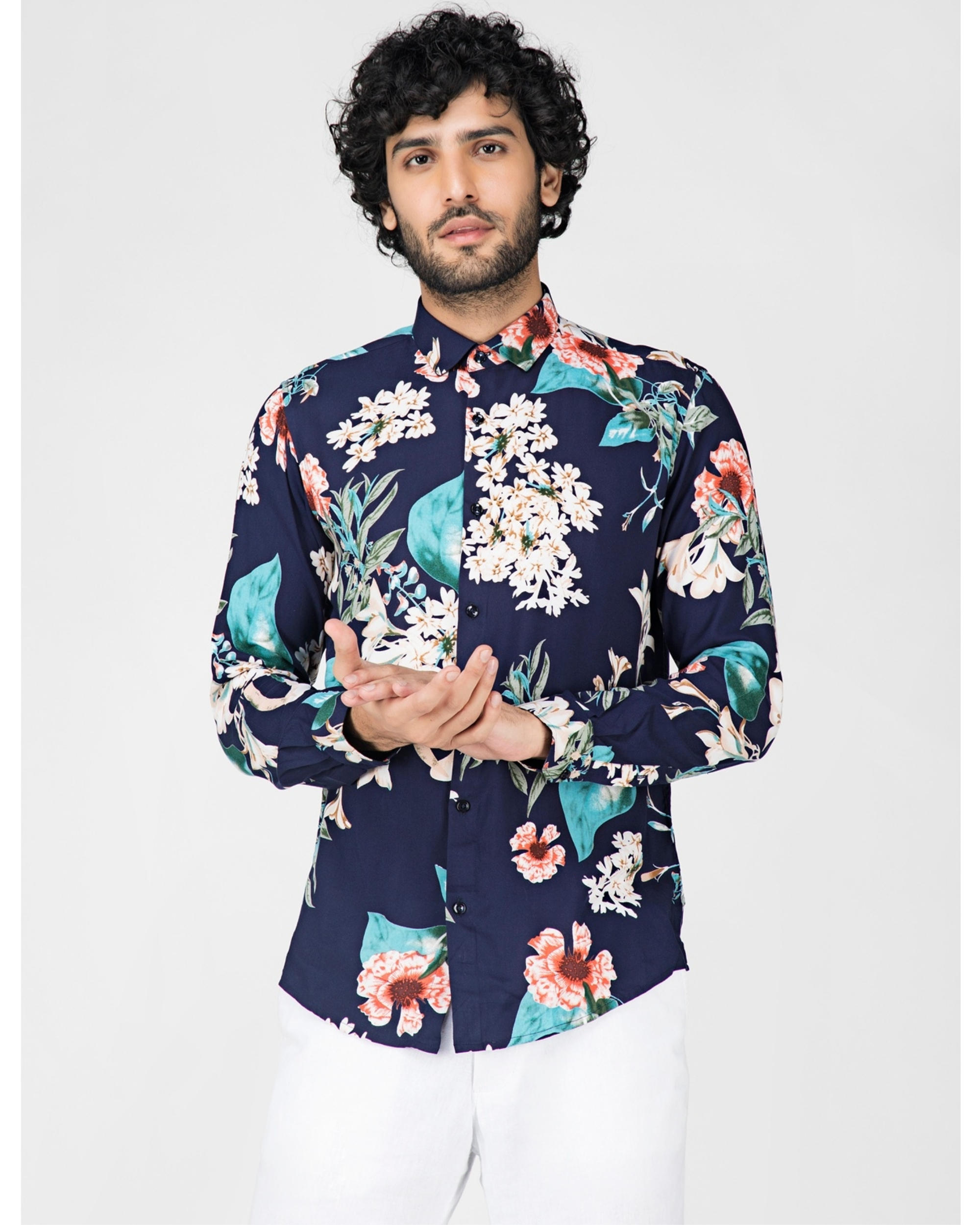 Blue and white floral printed casual shirt