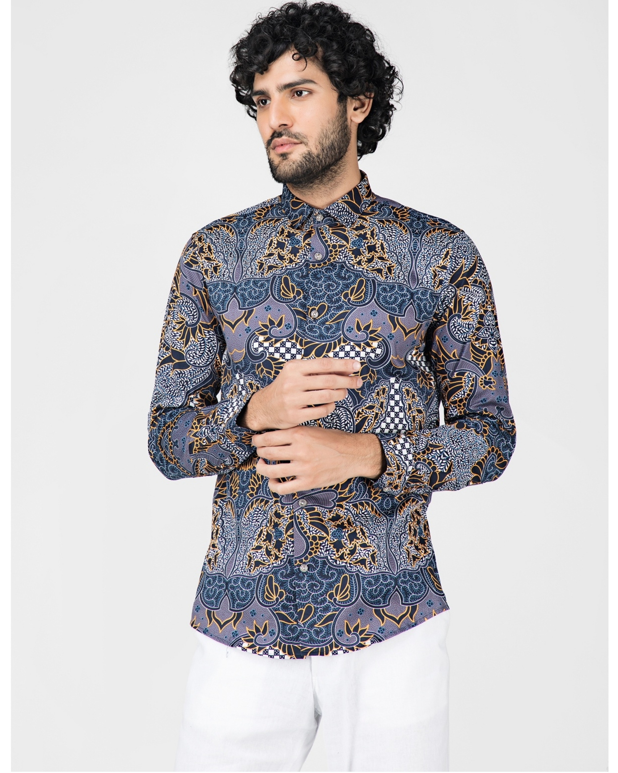 Blue digital printed casual shirt