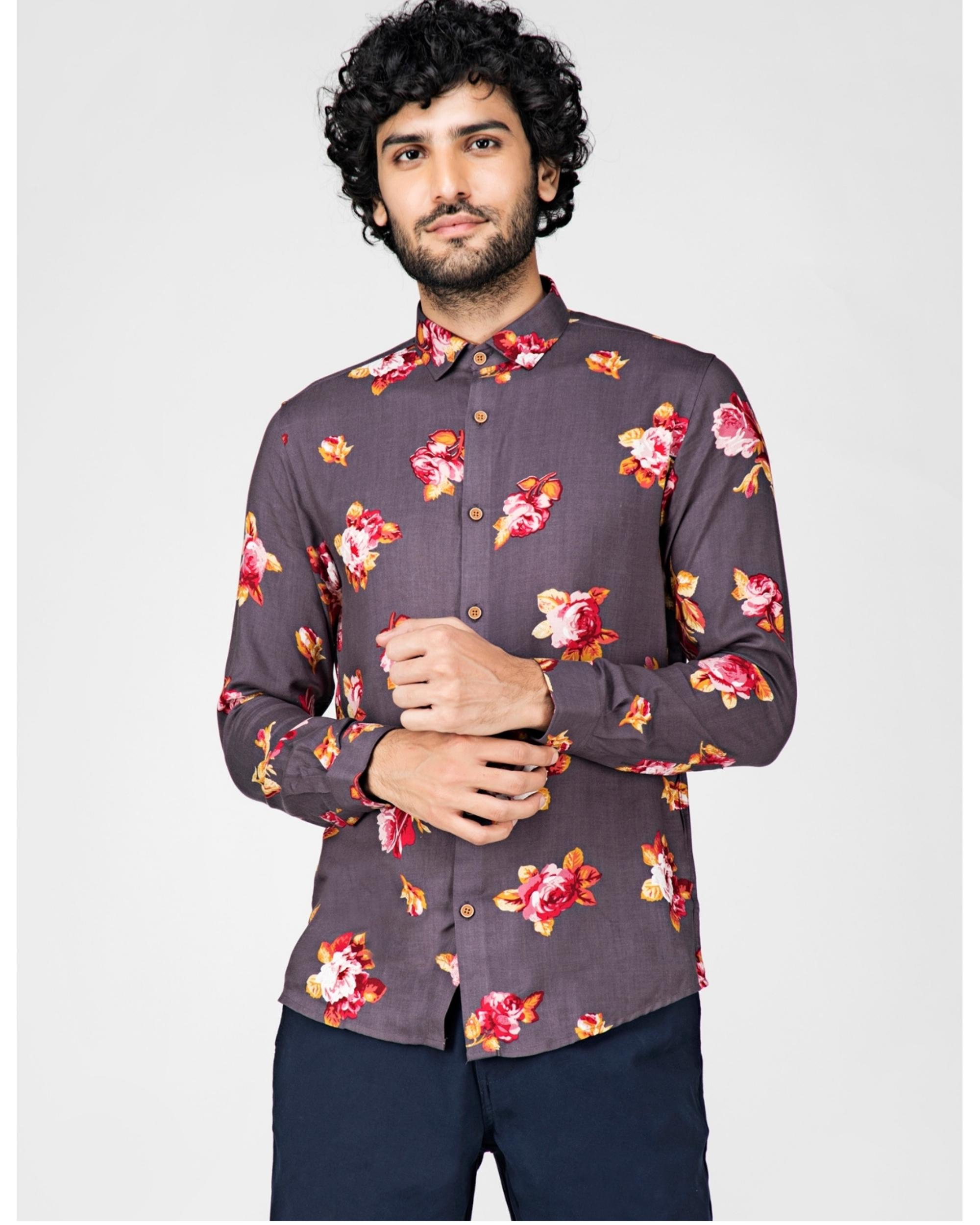 Grey floral printed casual shirt