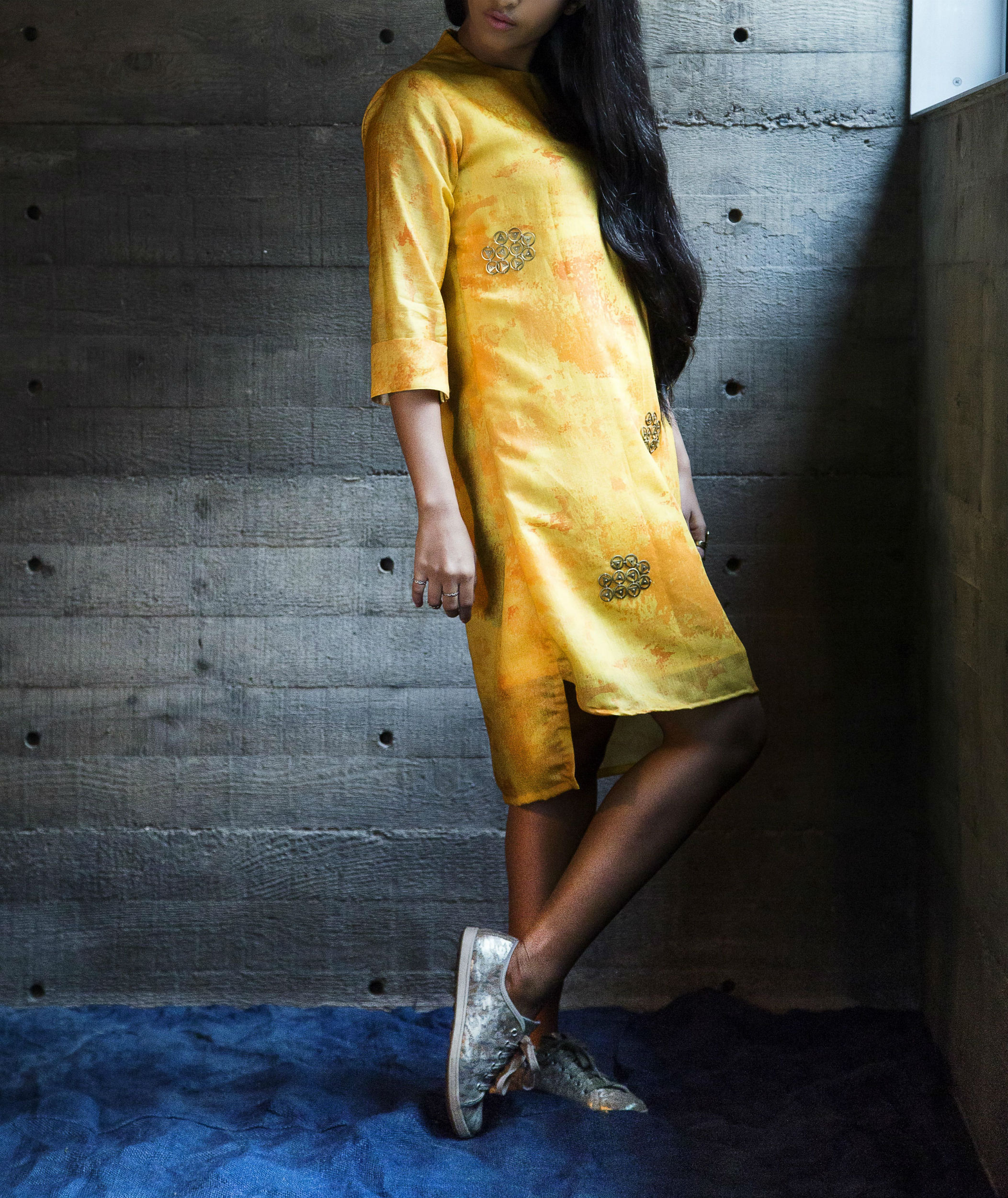 Canary shift dress