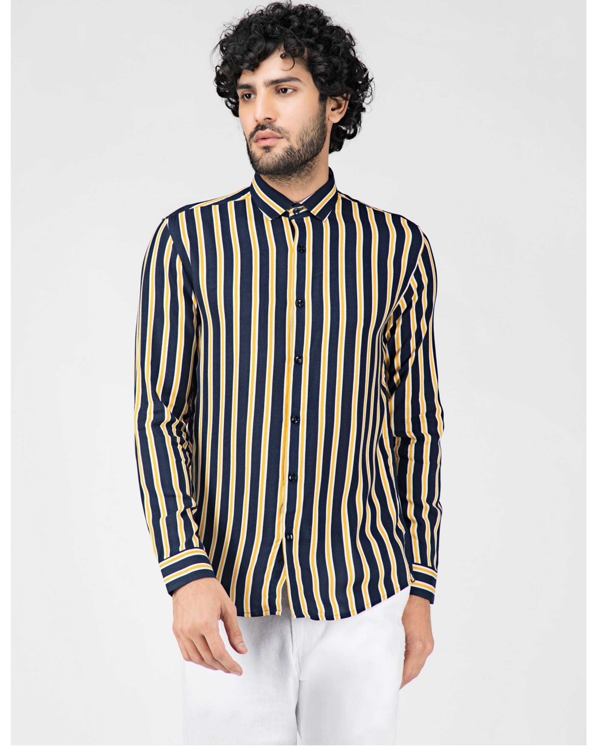 Yellow and blue striped casual shirt