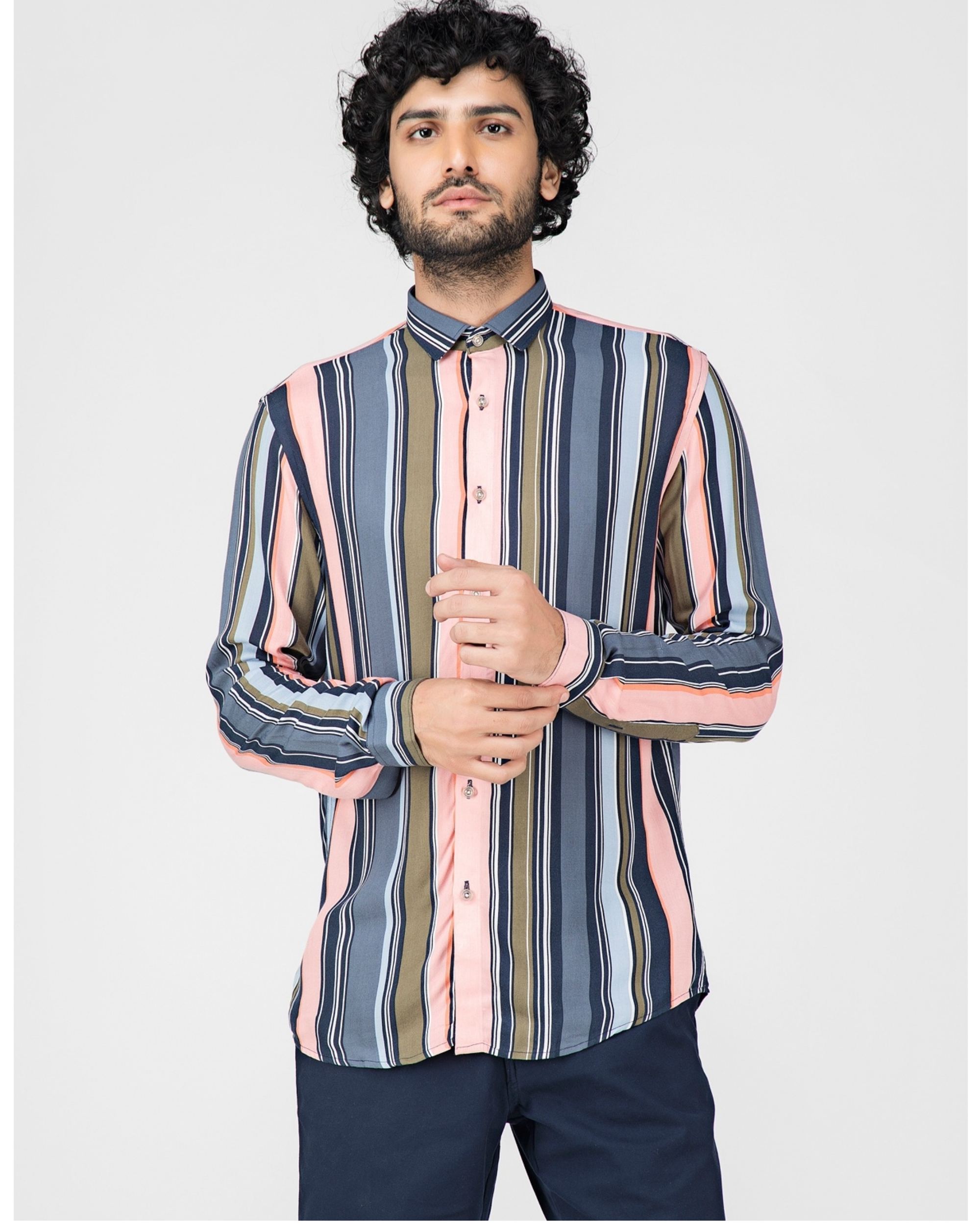 Pink and blue striped casual shirt