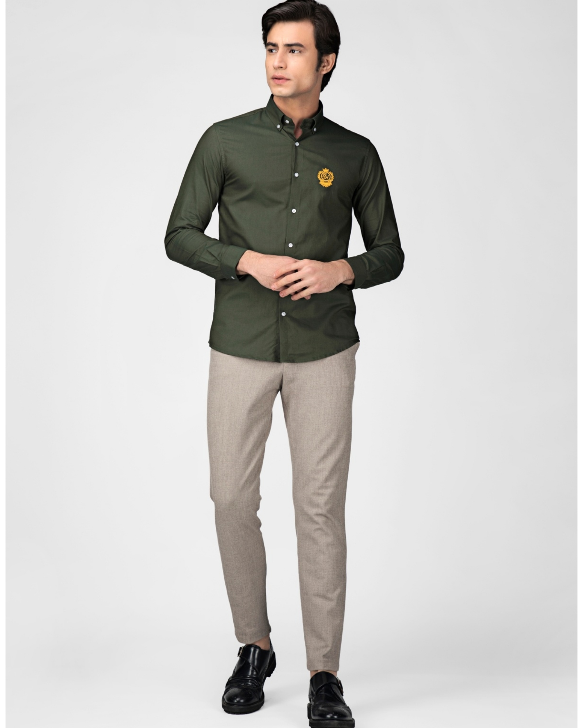 Olive green oxford embroidered shirt
