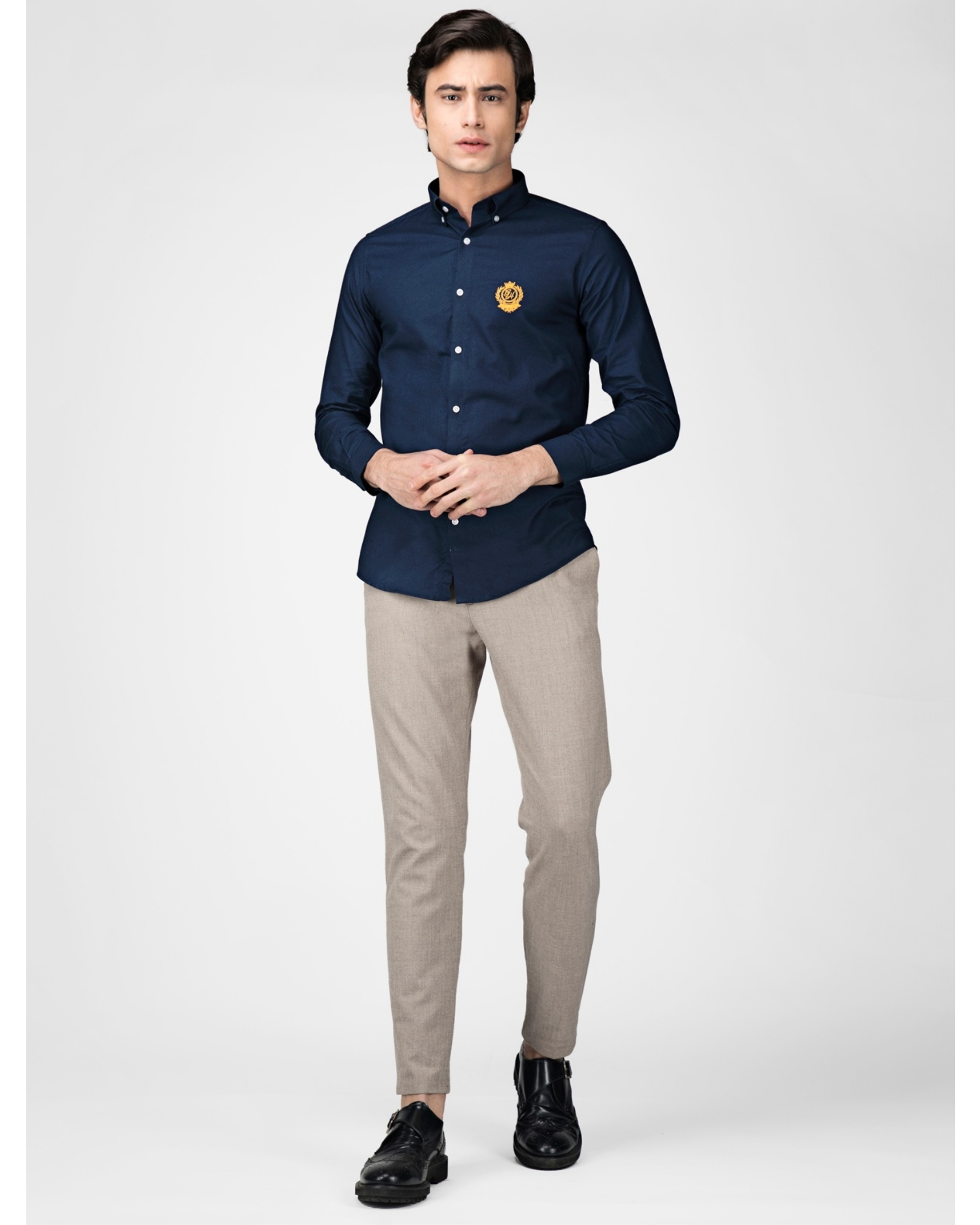 Royal blue oxford embroidered shirt