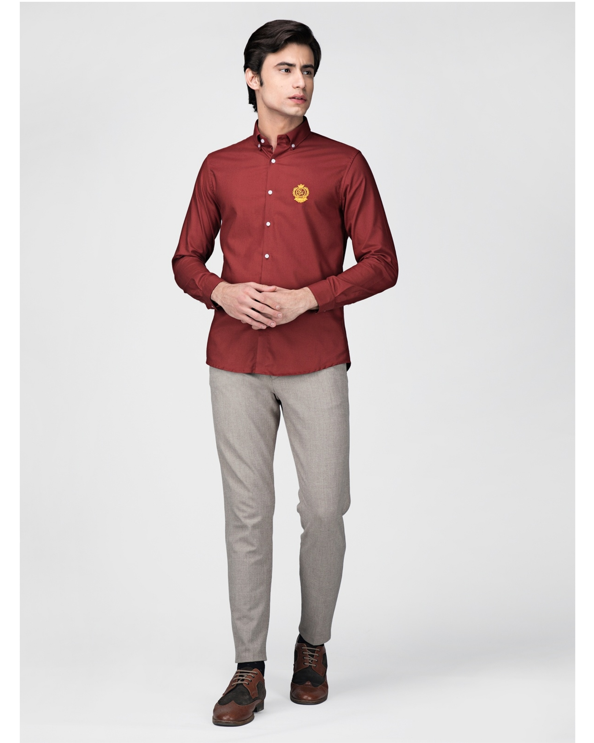 Red oxford embroidered shirt