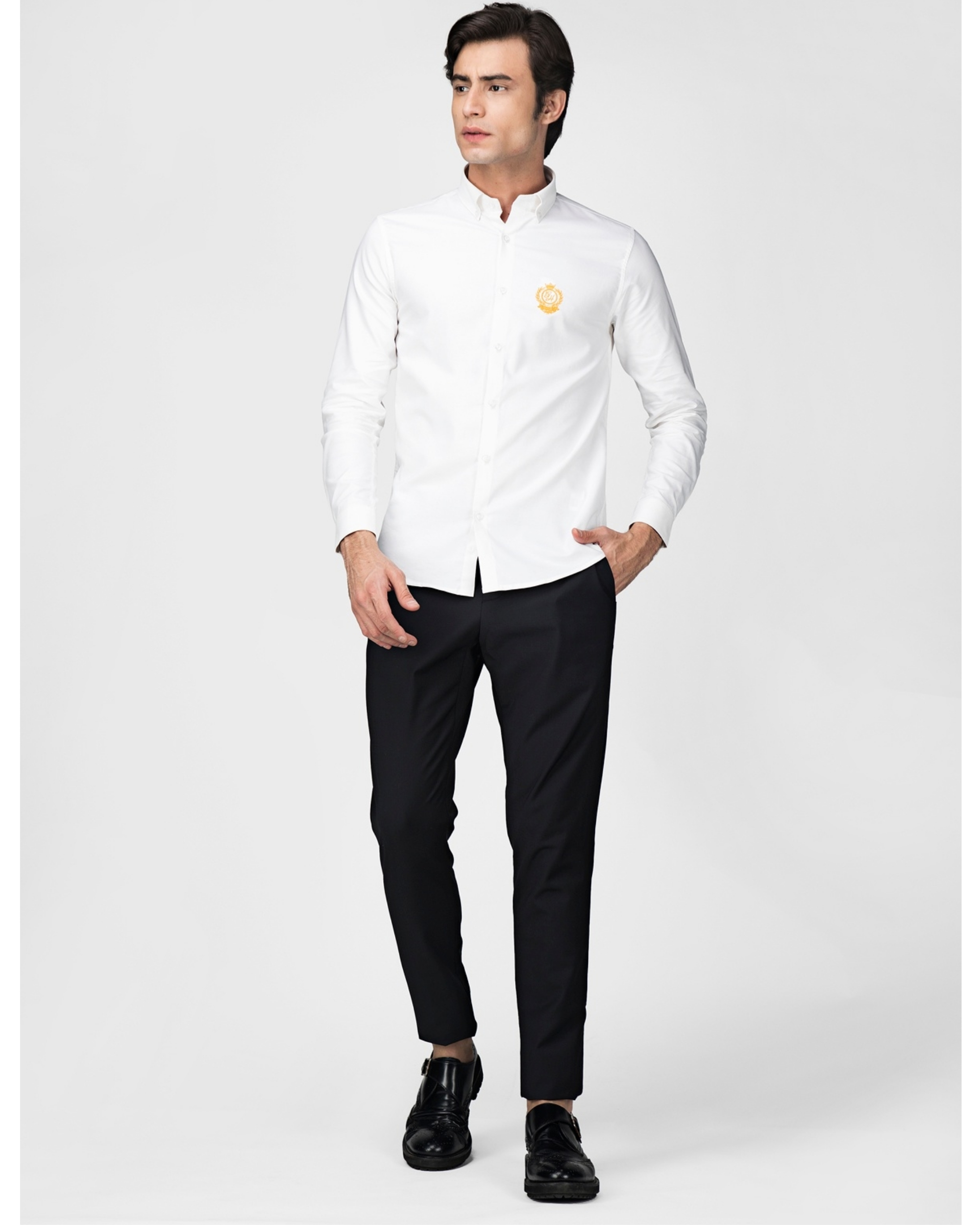 White oxford embroidered shirt