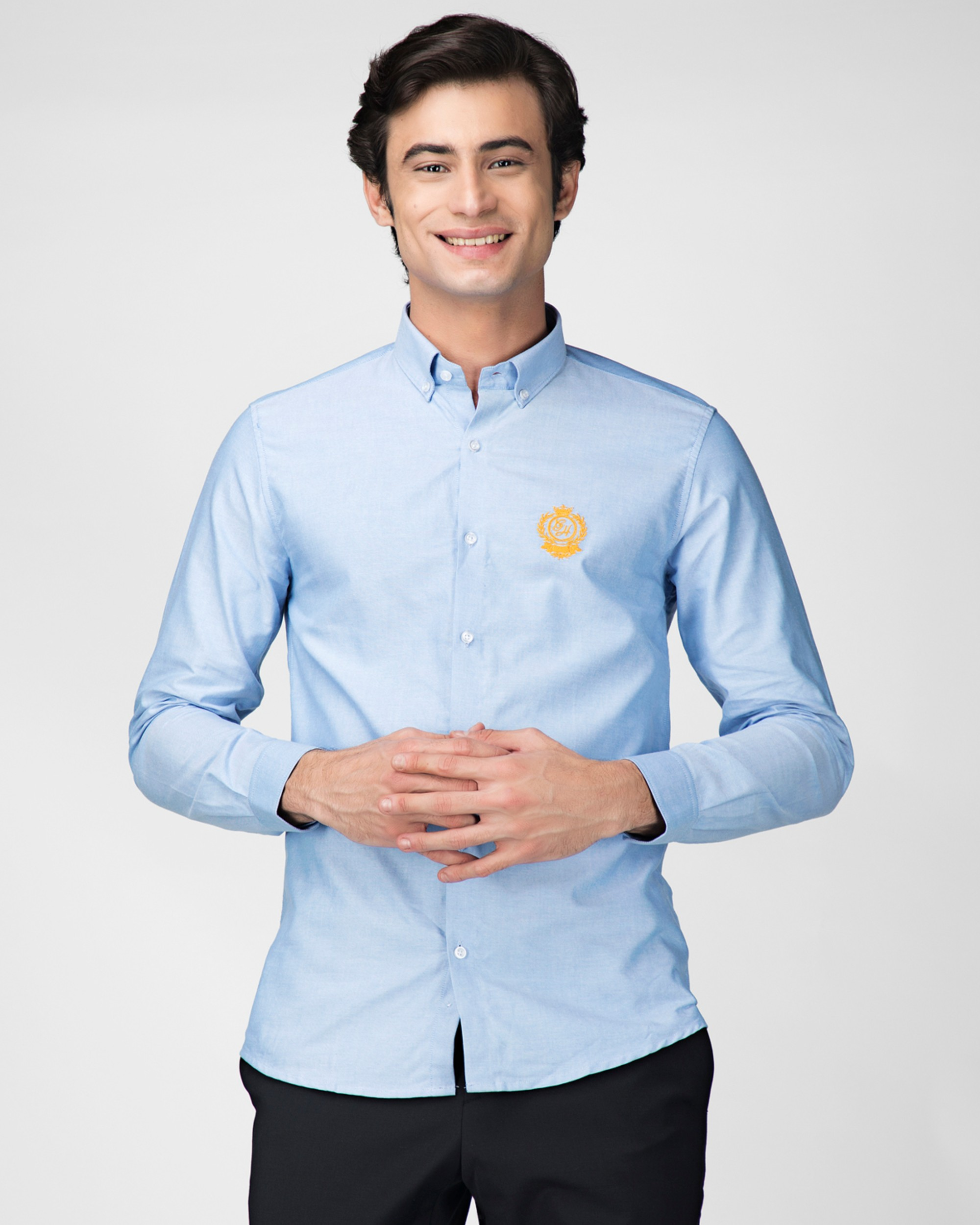 Sky blue oxford embroidered shirt