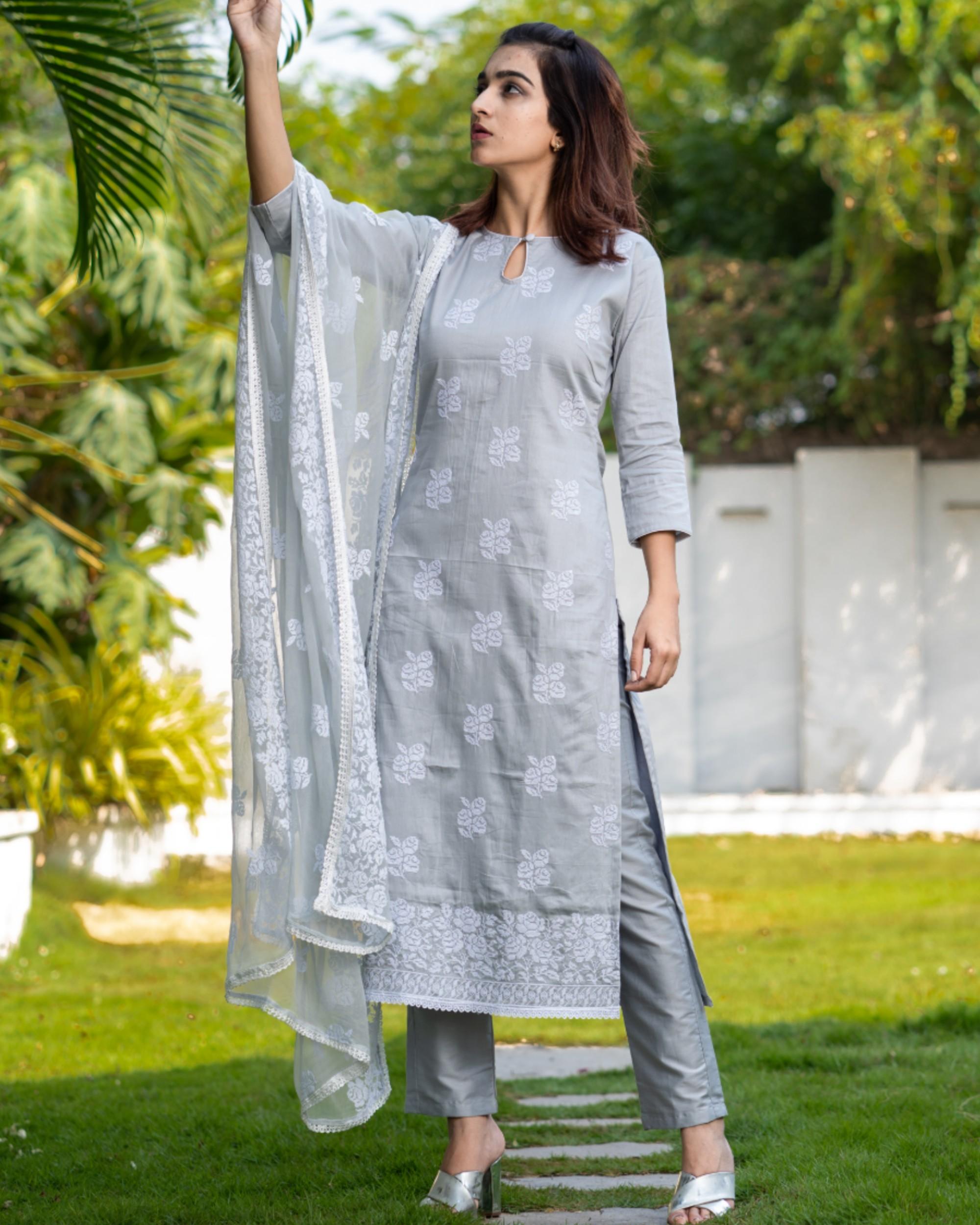 Light grey cross stitch embroidered kurta set with dupatta- set of three