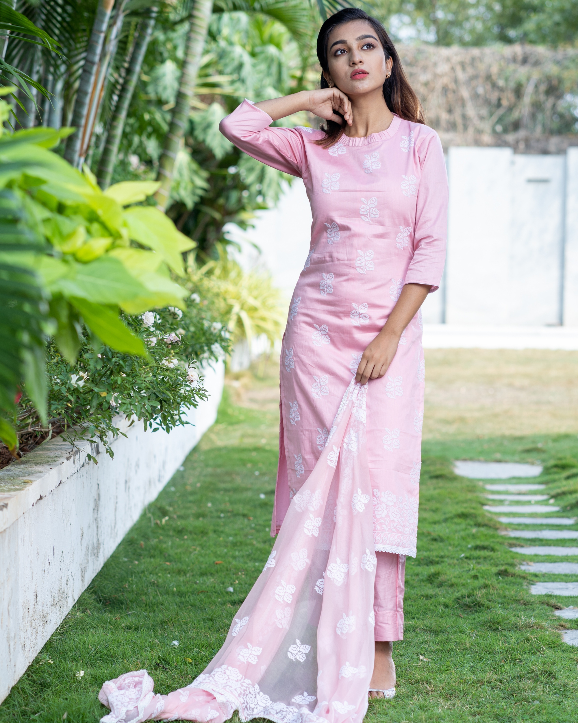 Pink cross stitch embroidered kurta set with dupatta- set of three