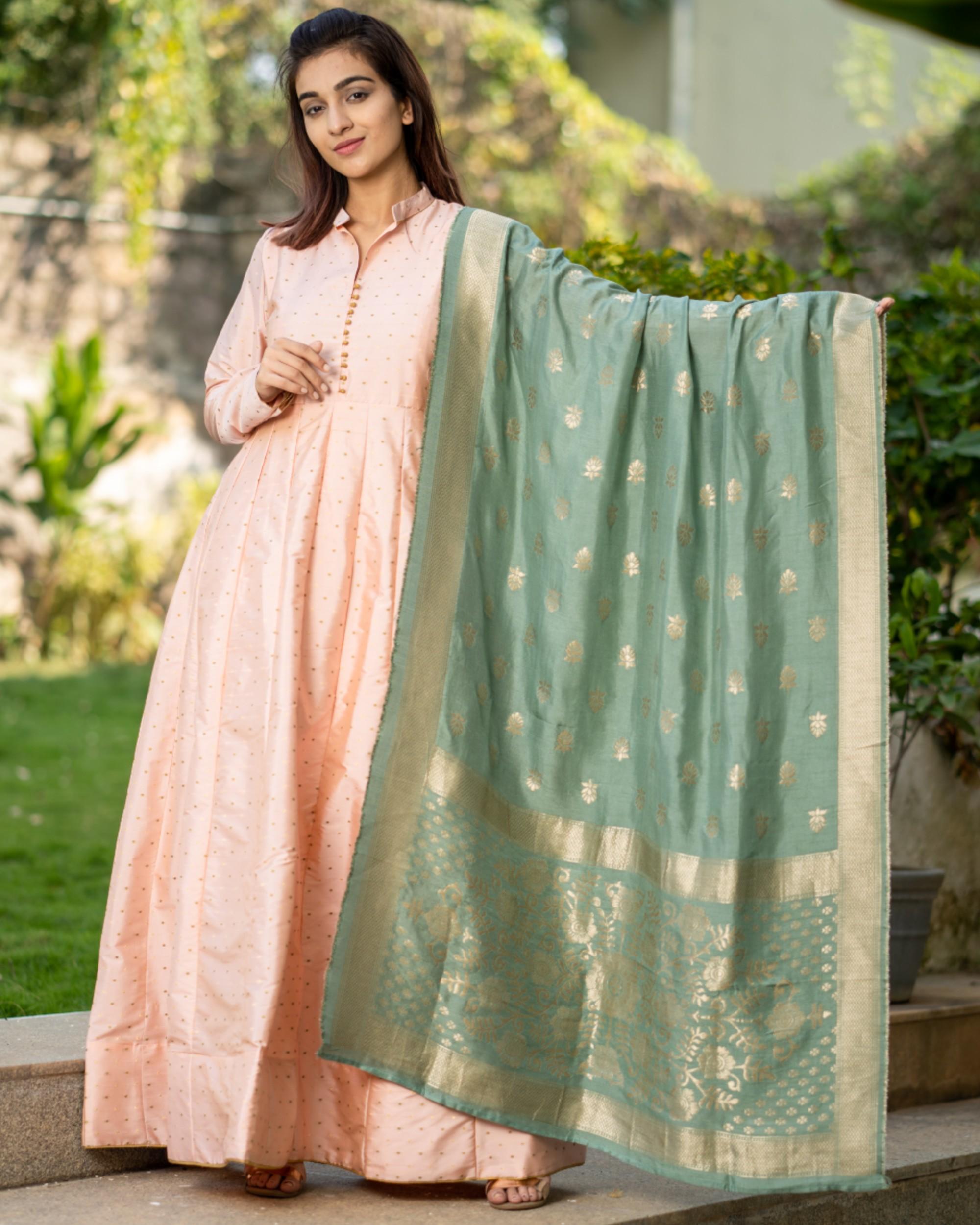 Pastel peach paneled dress with banarasi dupatta- set of two