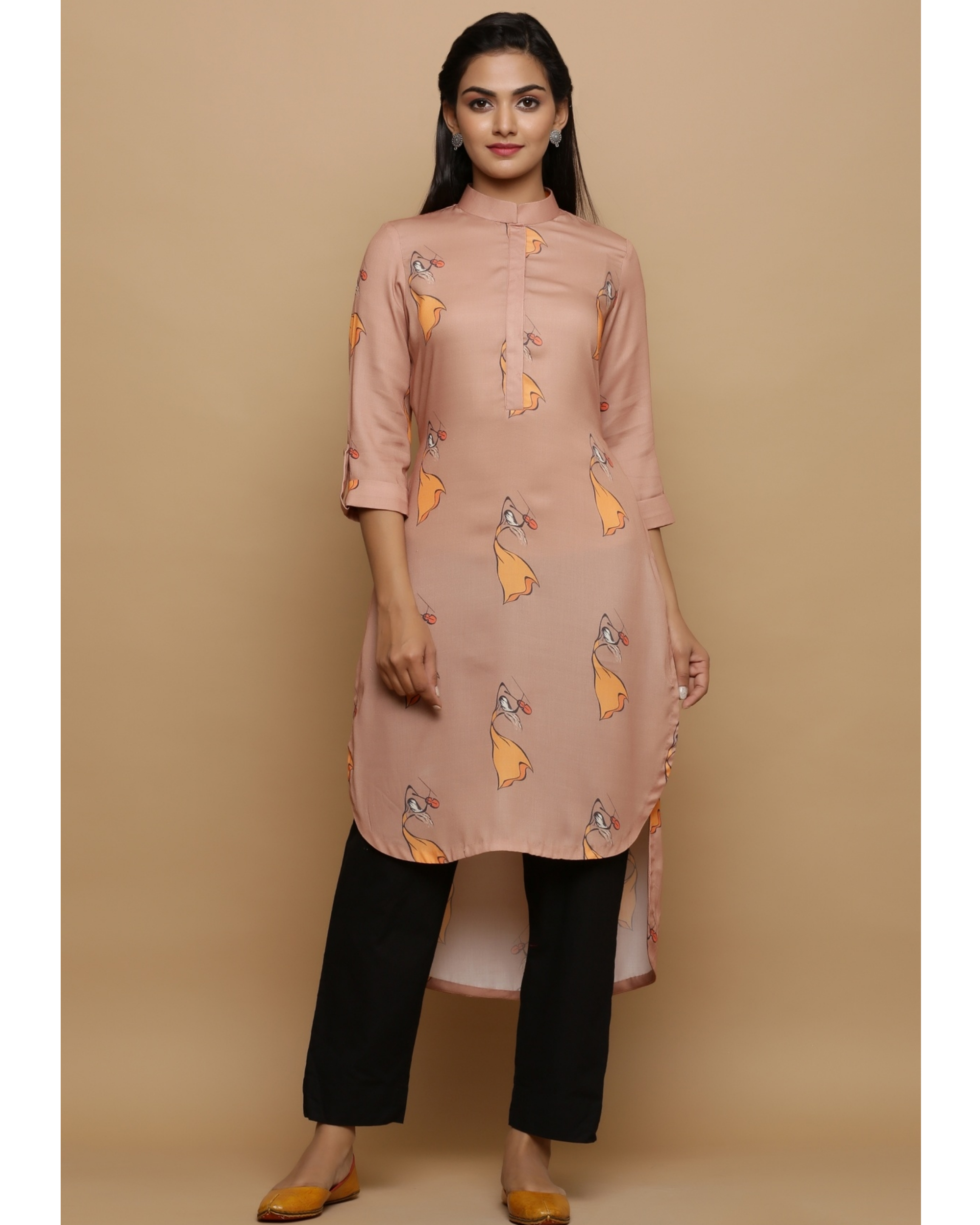 Beige printed high low kurta