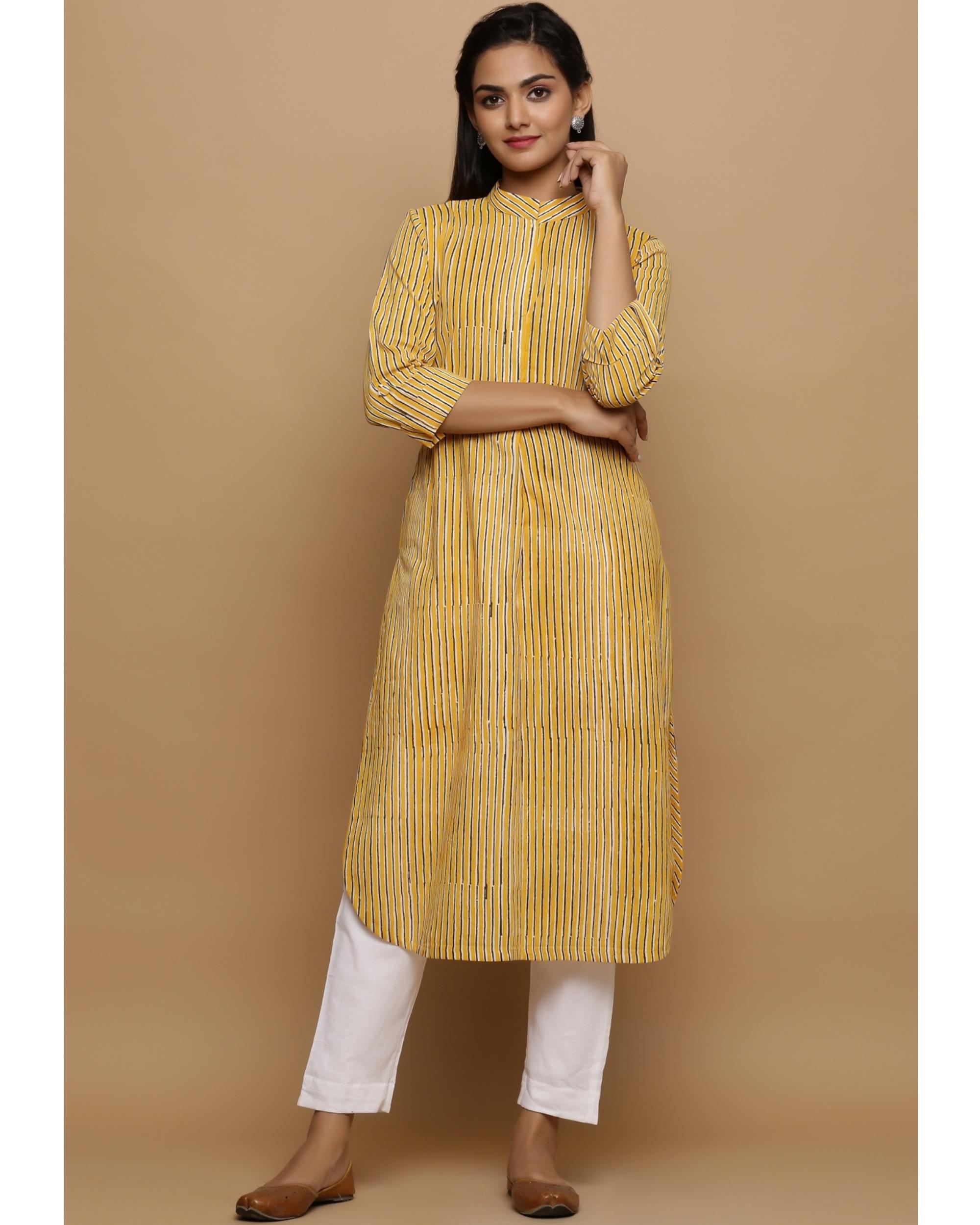 Yellow striped cotton kurta