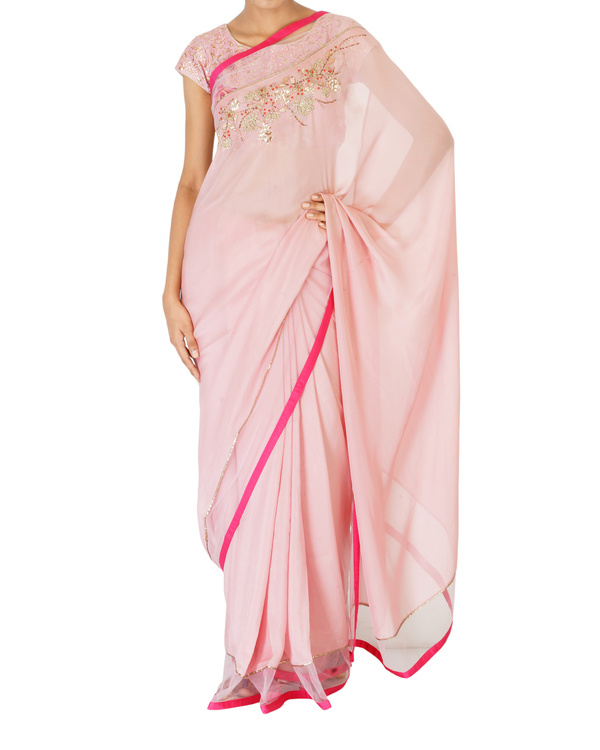 Soft blush pink sari with printed blouse