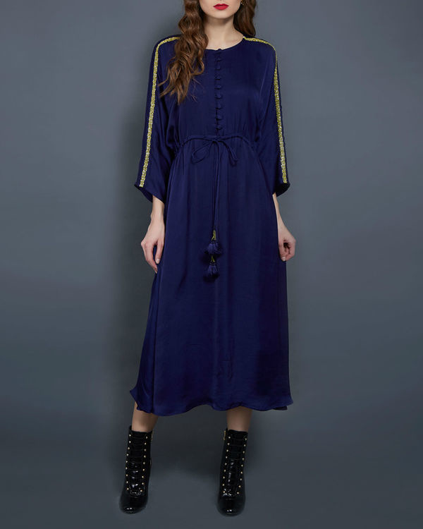 Navy blue tunic with kimono sleeves