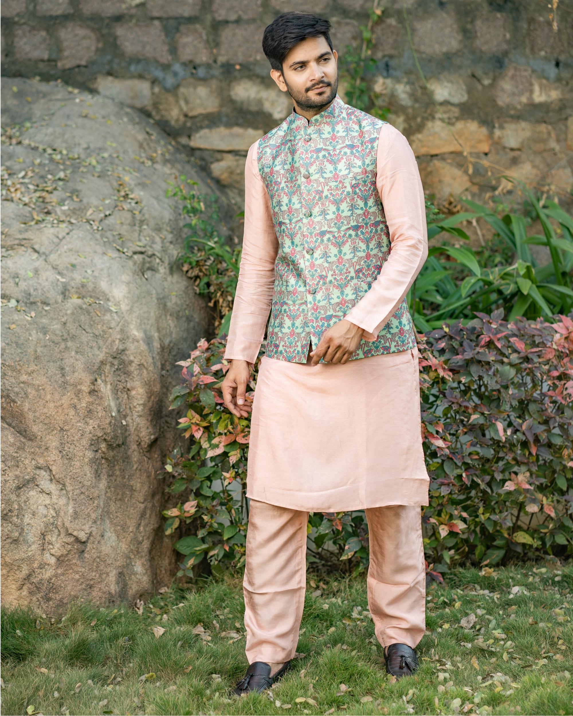 Dusty pink chanderi kurta and pyjama with printed nehru jacket - set of three