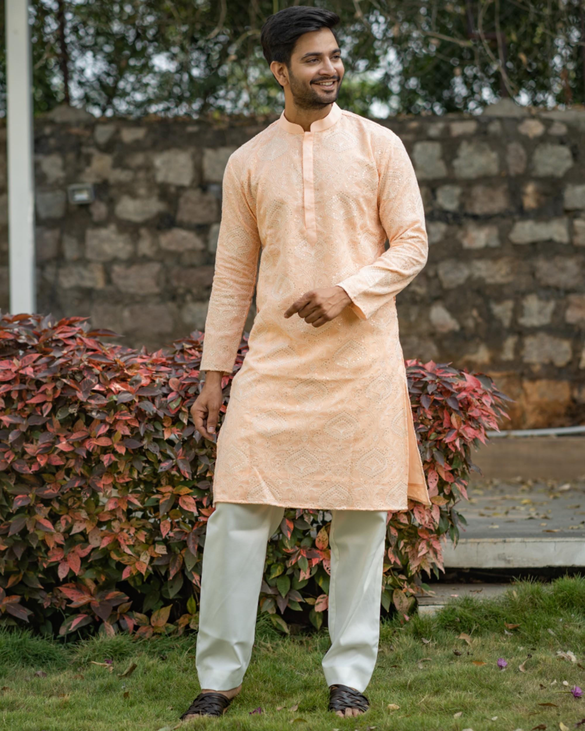 Peach chikankari kurta and off white pyjama set- set of two