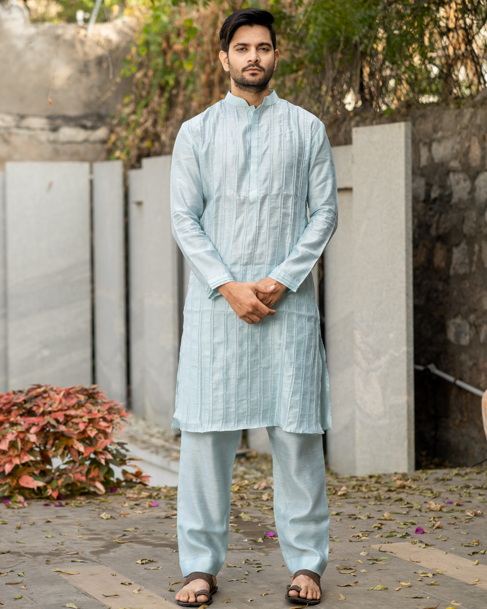 Powder blue pin tuck kurta and pyjama set - set of two