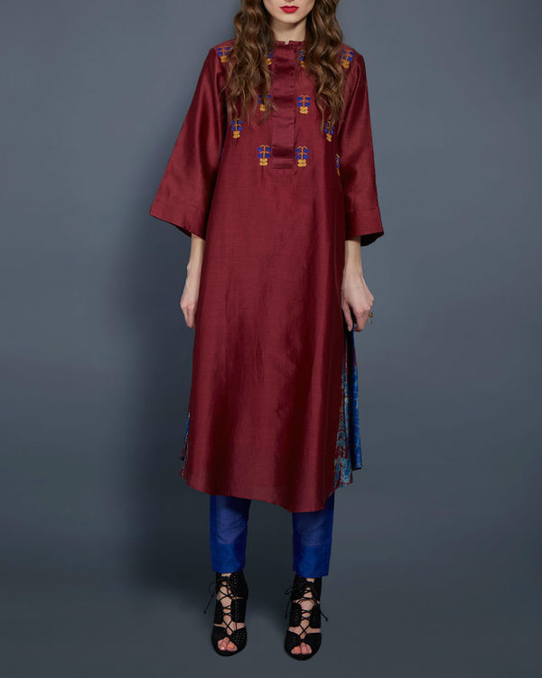 Wine tunic with embroidered front and back