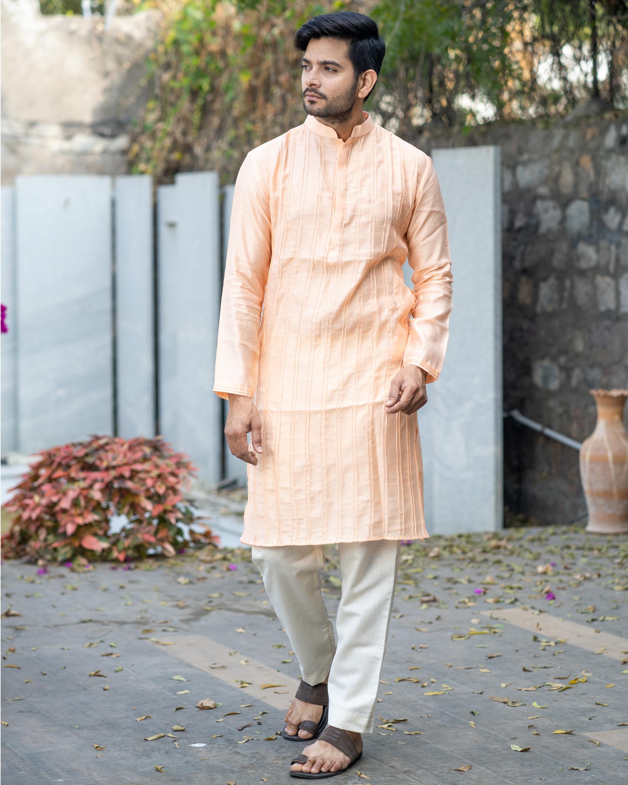 Peach chanderi pin tuck kurta and off white pyjama set- set of two