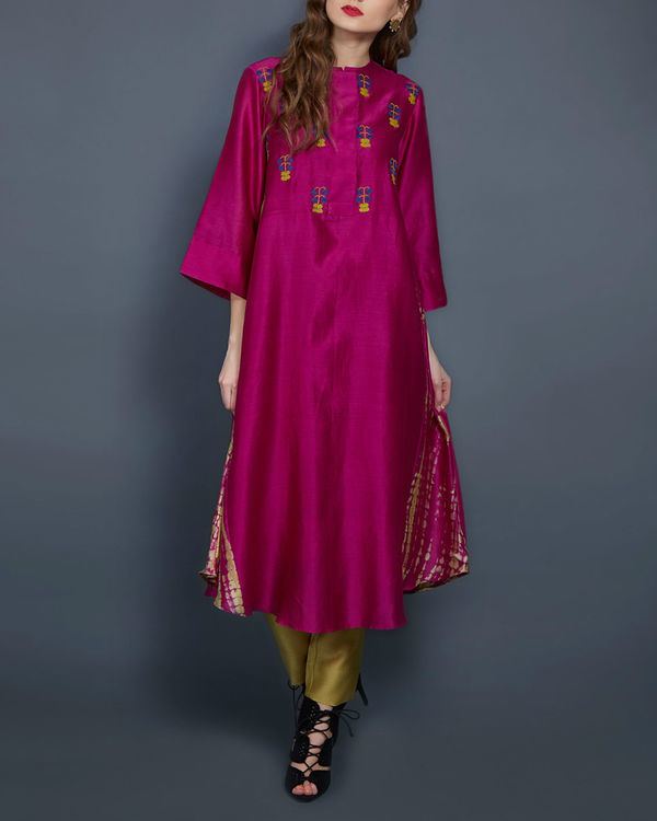 Pink tunic with embroidered front and back