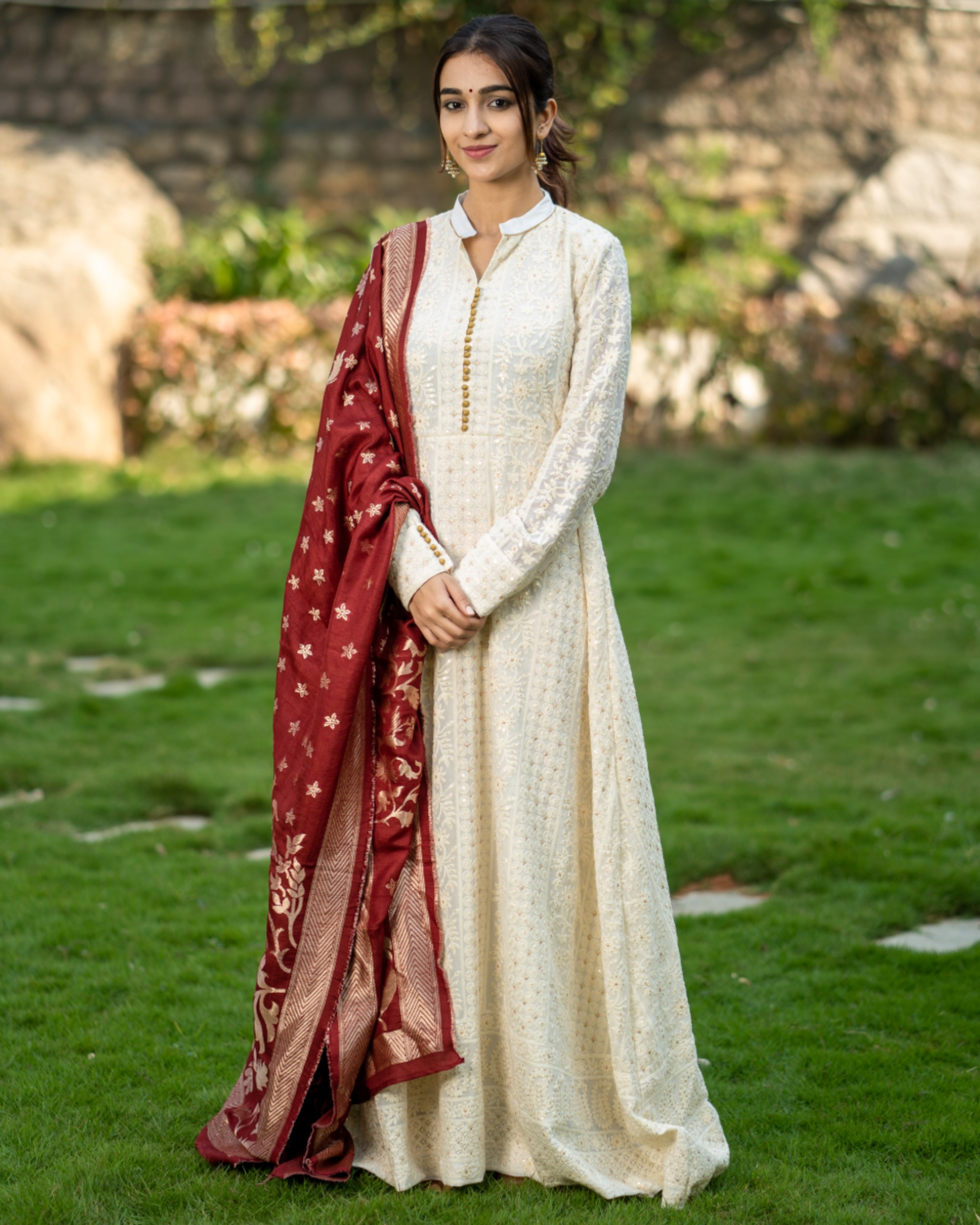 Off white embroidered dress and maroon banarasi dupatta set- set of two