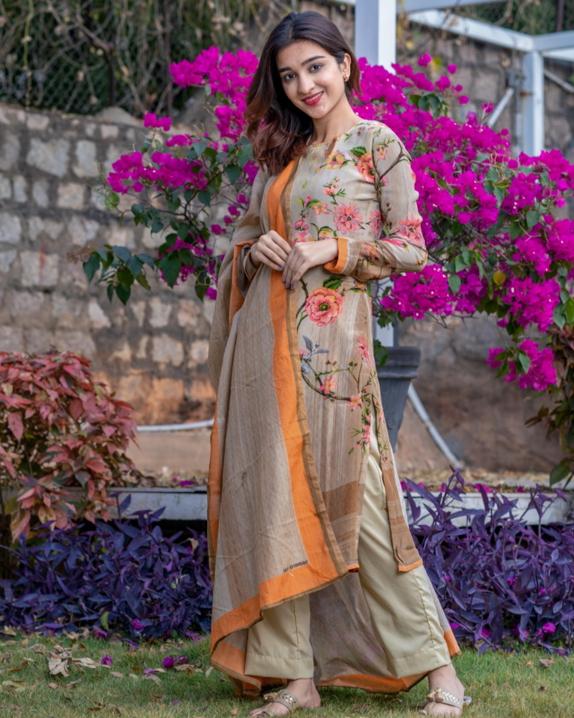 Beige flora and fauna printed kurta and pants set with dupatta- set of three