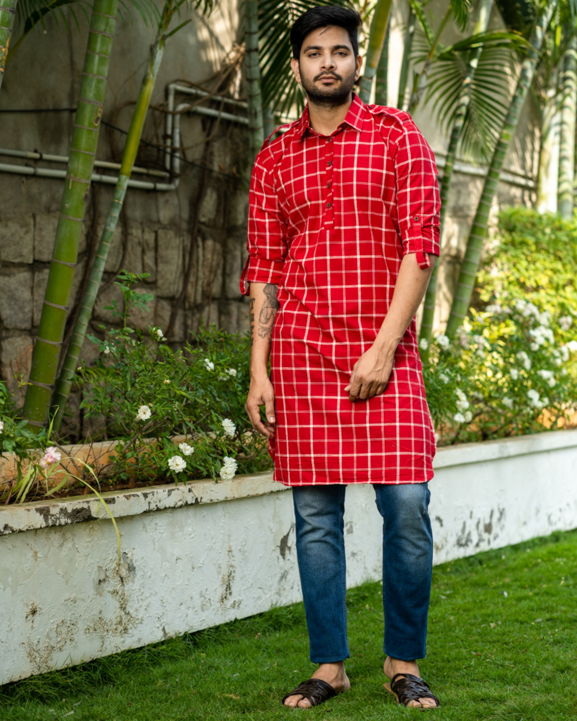 Red checkered kurta with epaulet sleeves