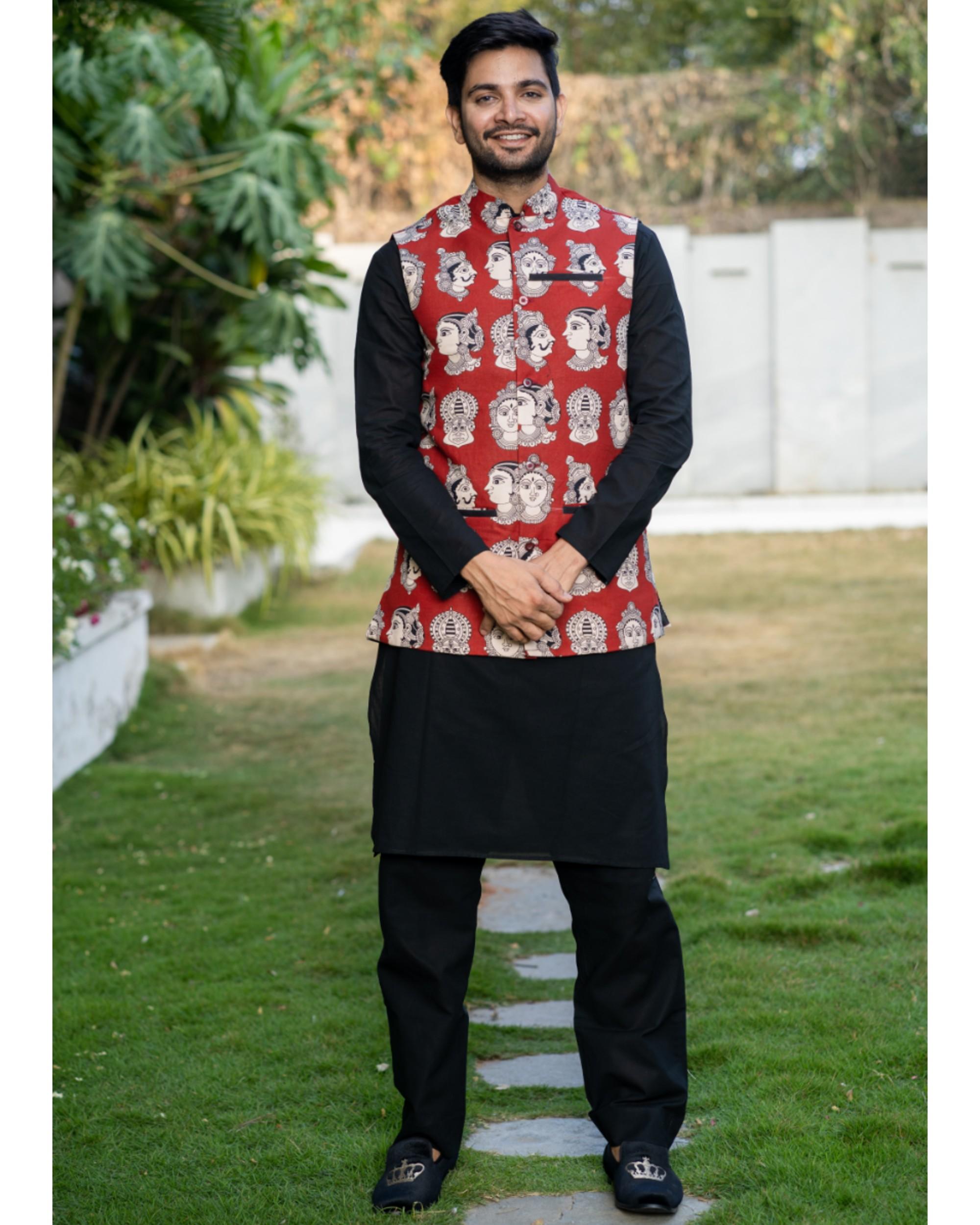 Black kurta and pyjama with red printed jacket set- set of three