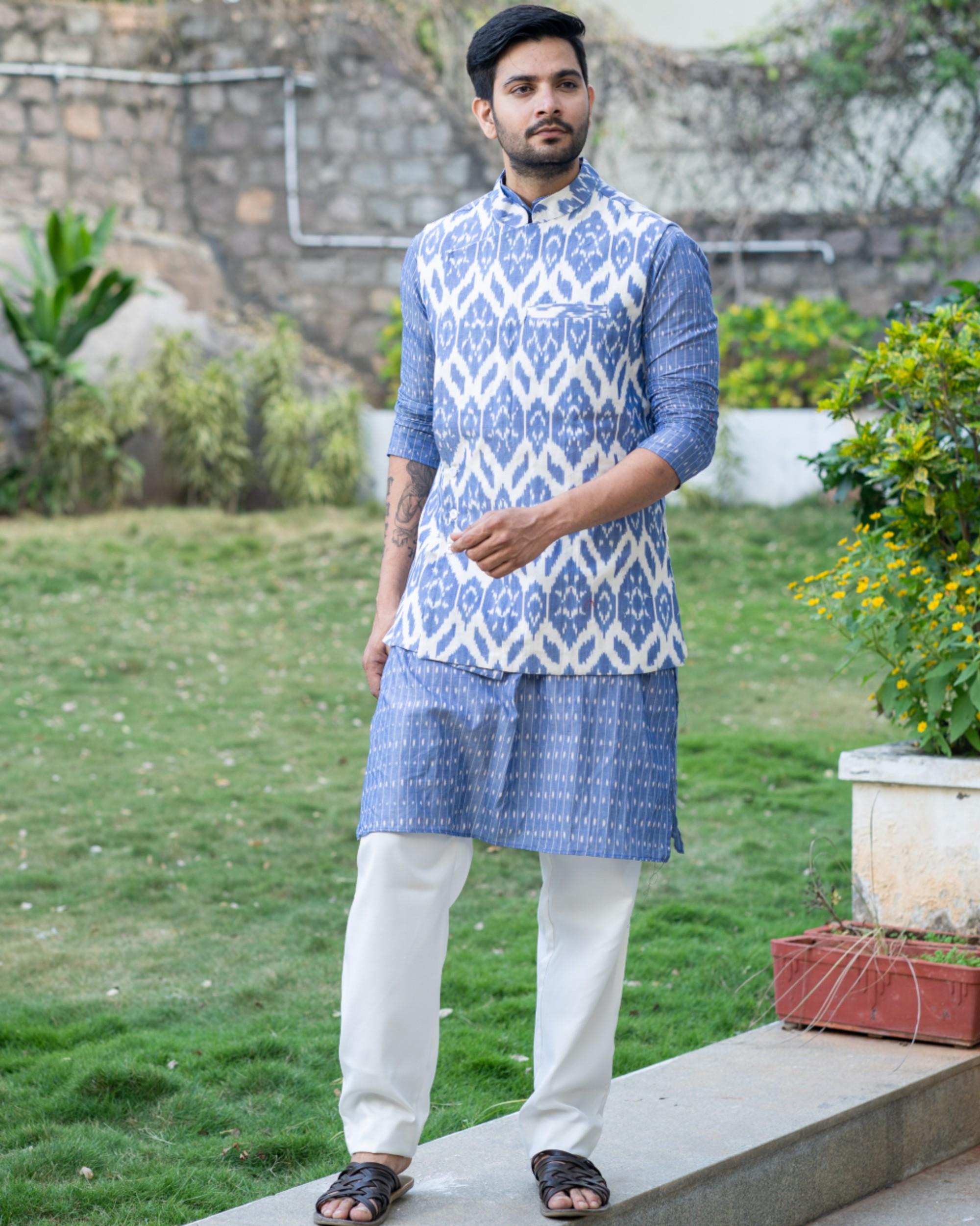Cornflower blue kurta and pyjama with ikat printed jacket set- set of three