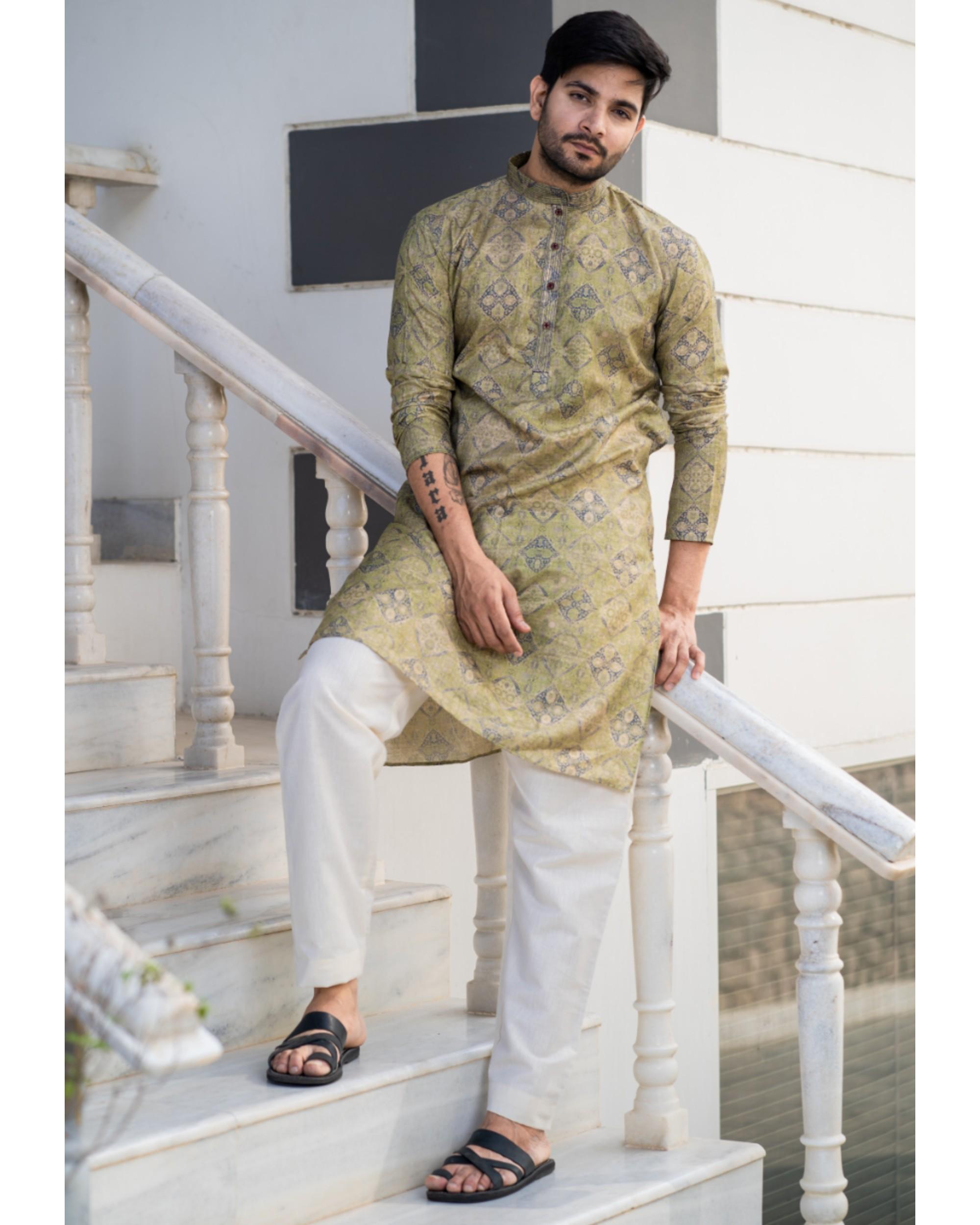 Hazelnut beige printed kurta and pyjama set- set of two