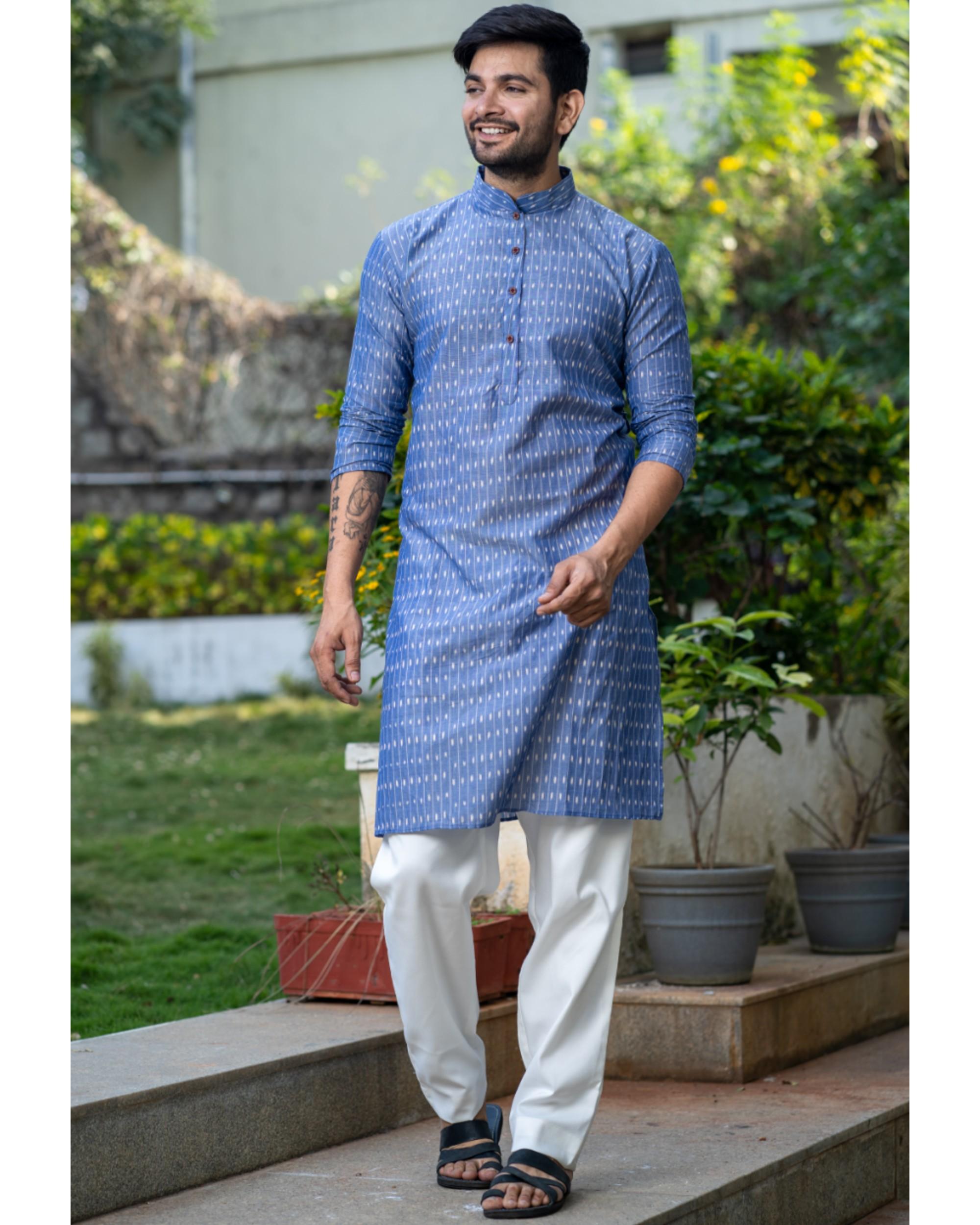 Blue printed kurta and pyjama set- set of two