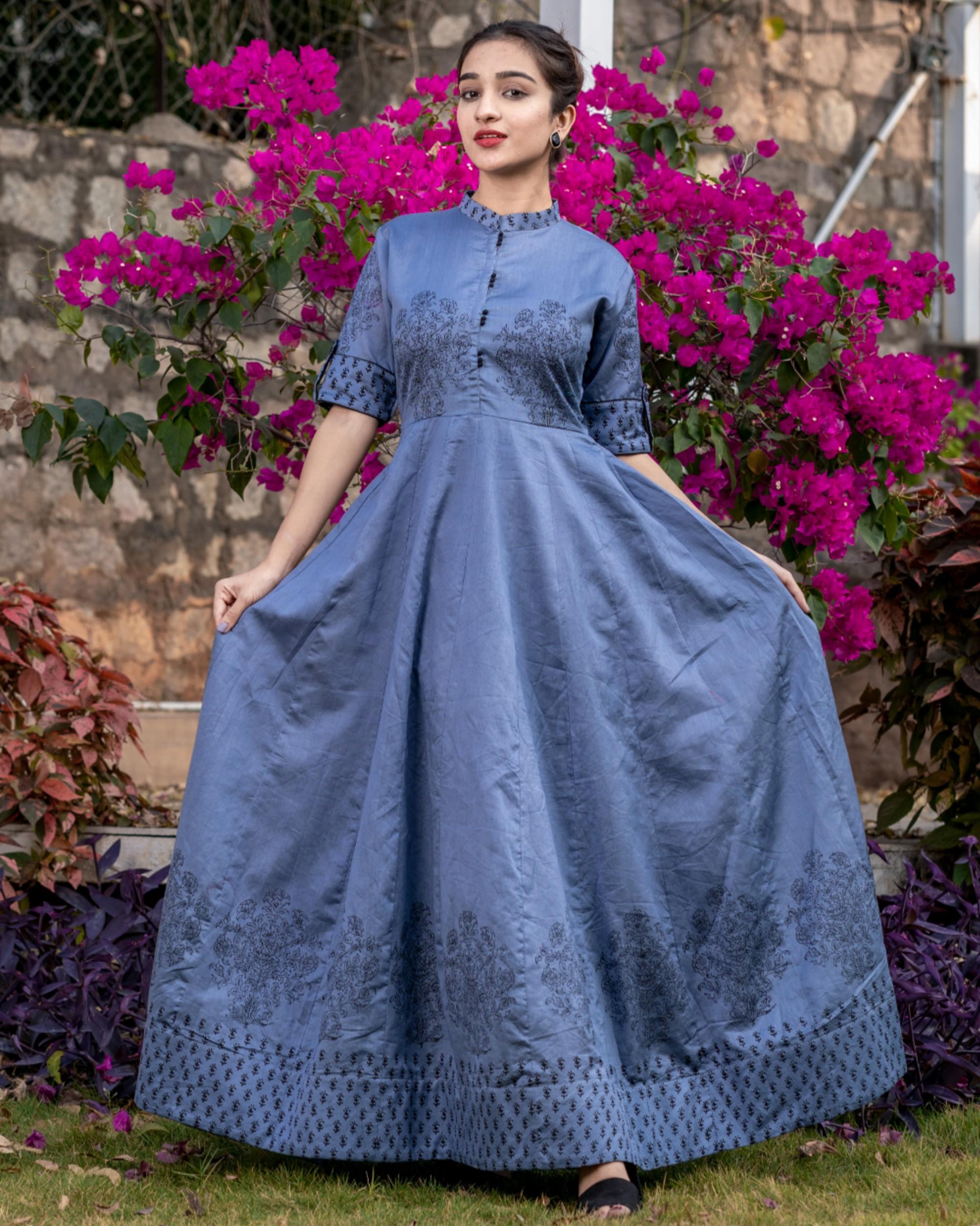 Pigeon blue floral printed kali dress