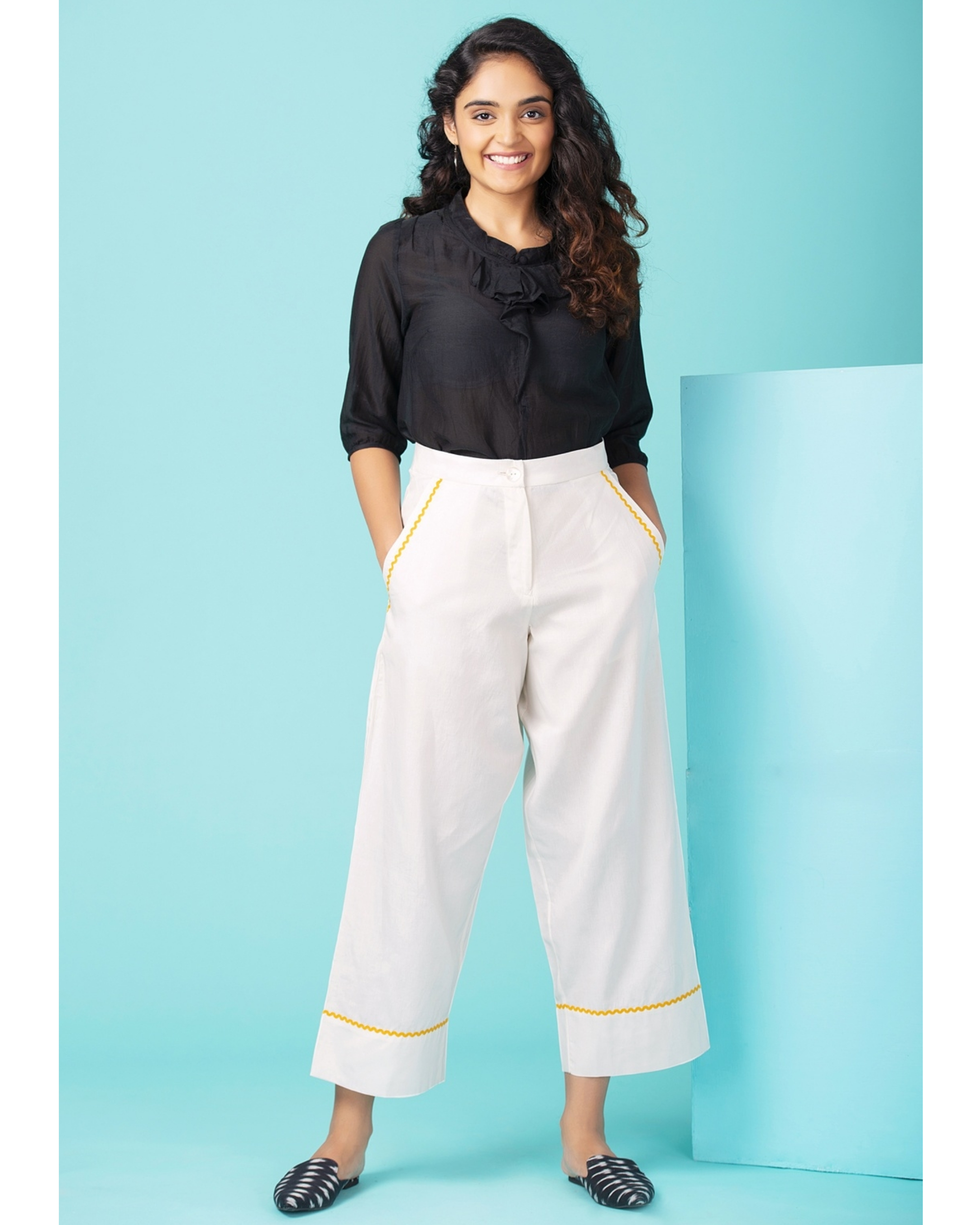 White contrast trim pants