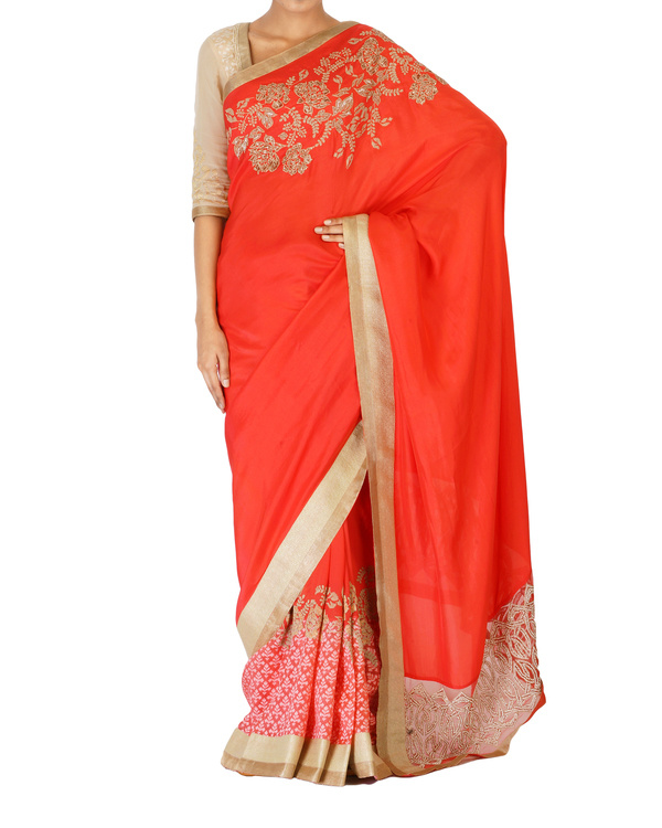 Embroidered coral sari