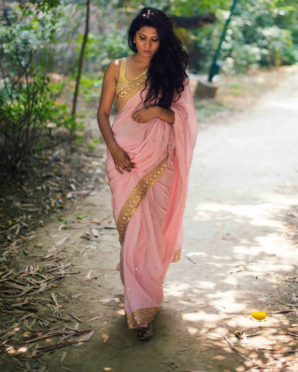 Powder pink pure crepe saree