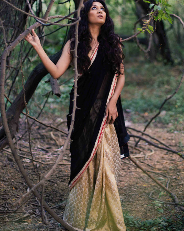 Golden black half and half saree