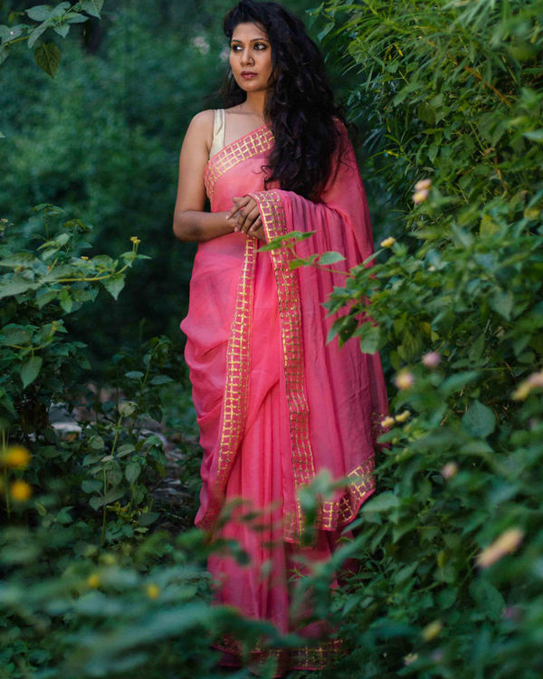 Pure chiffon candy floss saree with gota work