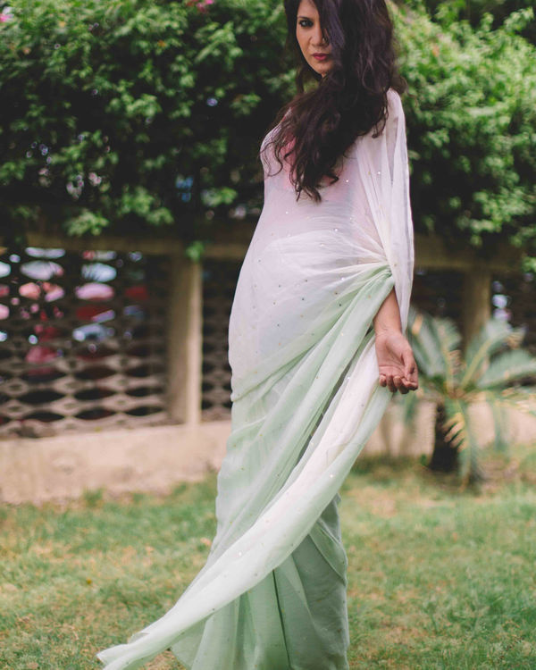 Pure chiffon pista green and off white ombre saree with sequins