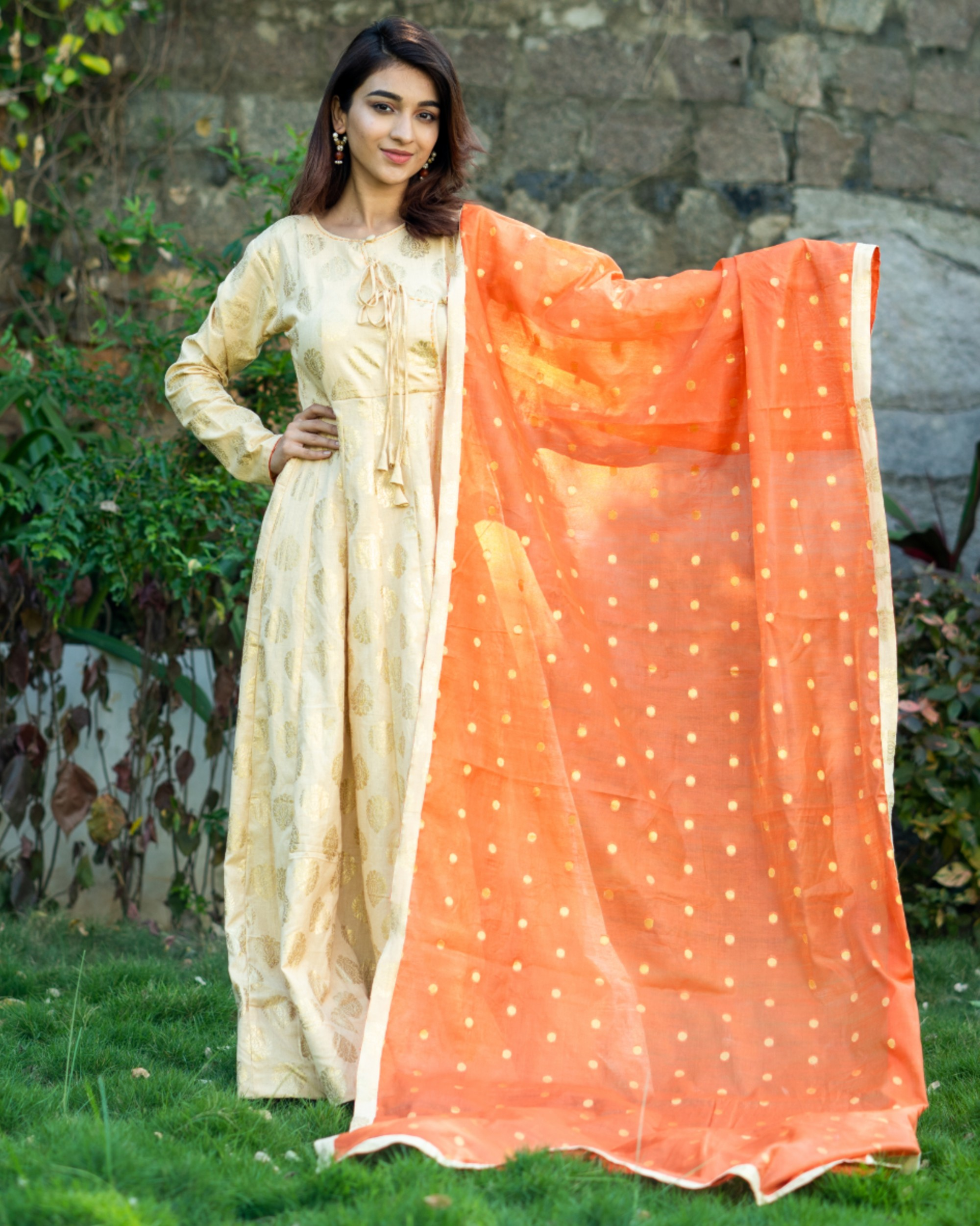 Light beige and orange printed flared dress with dupatta set- set of two