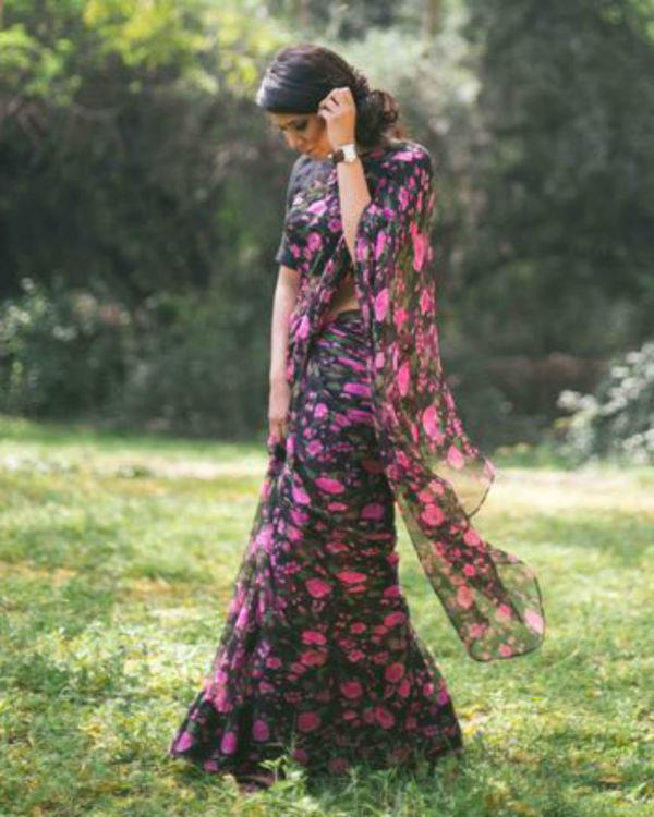 Pure chiffon floral saree