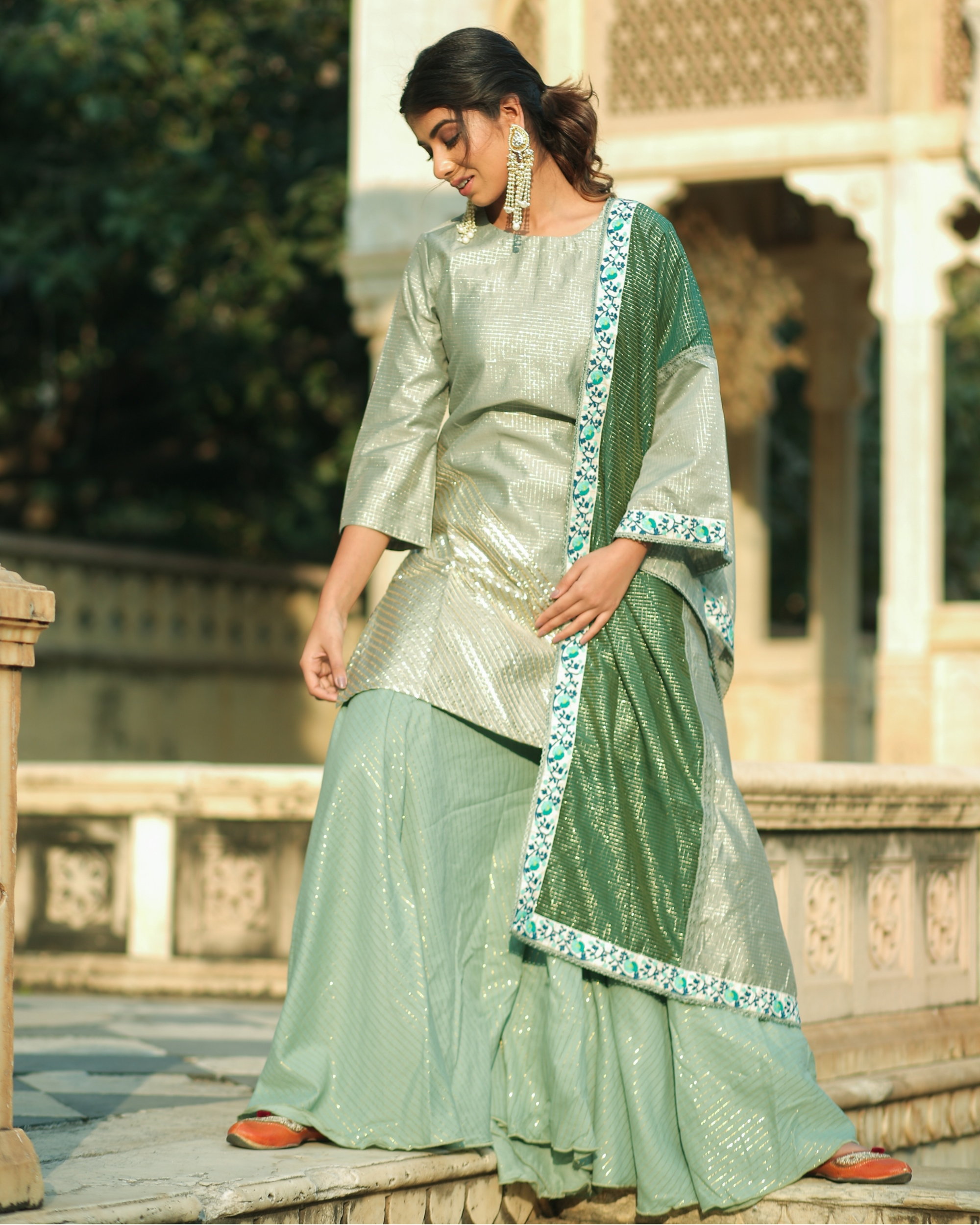 Green and gold gota chanderi kurta and gharara with dupatta set- set of three