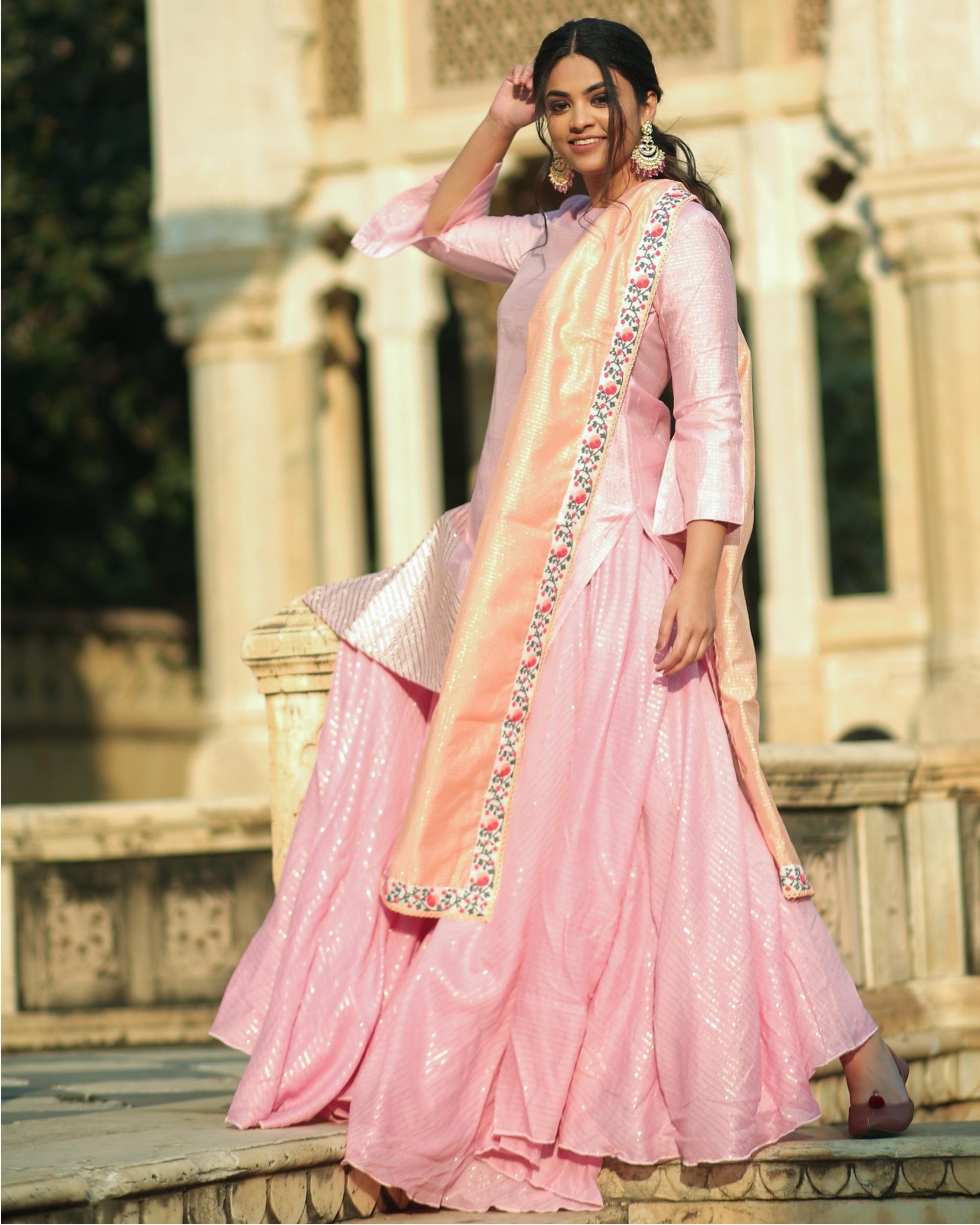 Pink and peach gota chanderi kurta and Gharara with dupatta set- set of three