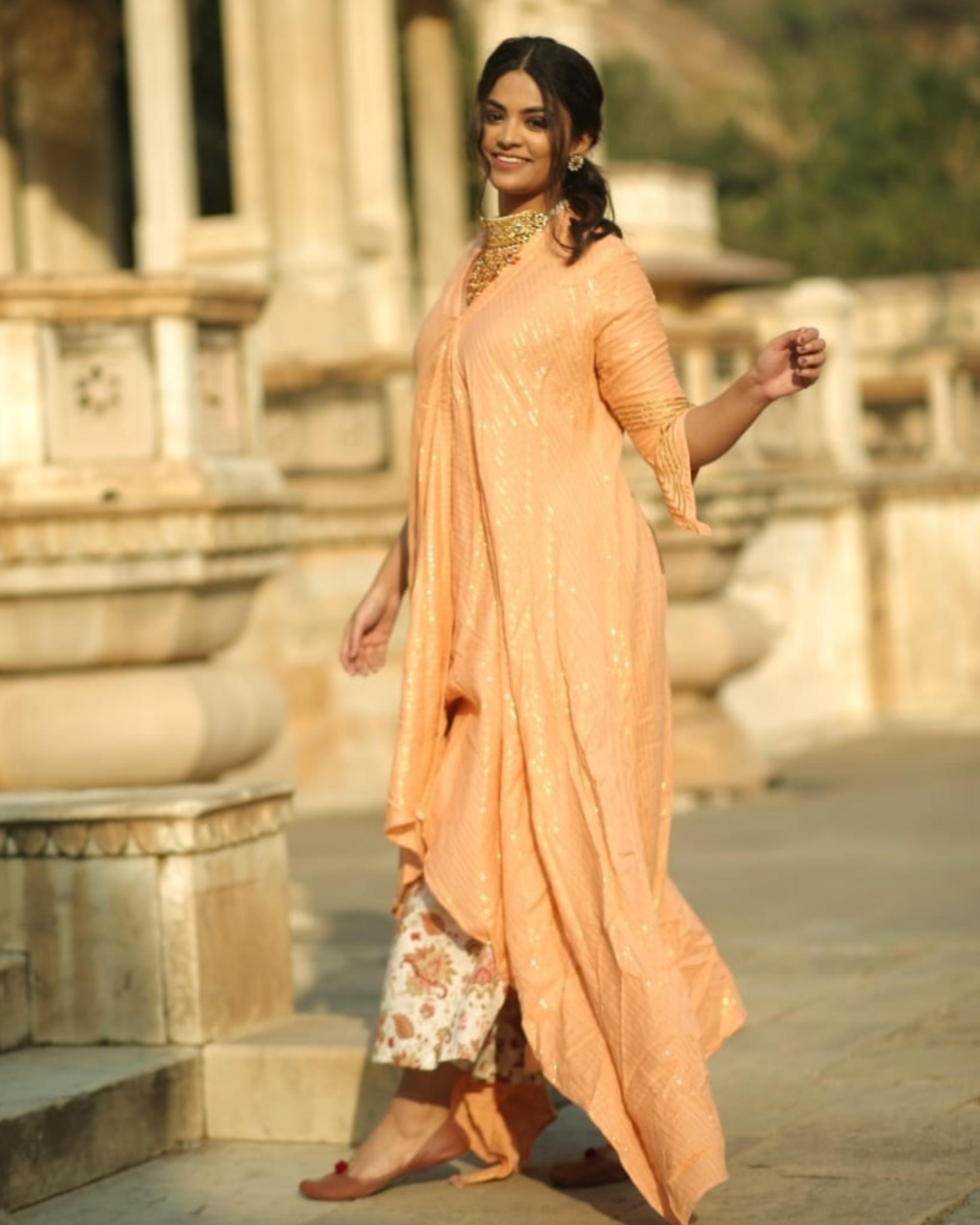 Peach and gold handkerchief slit kurta and palazzo set- set of two