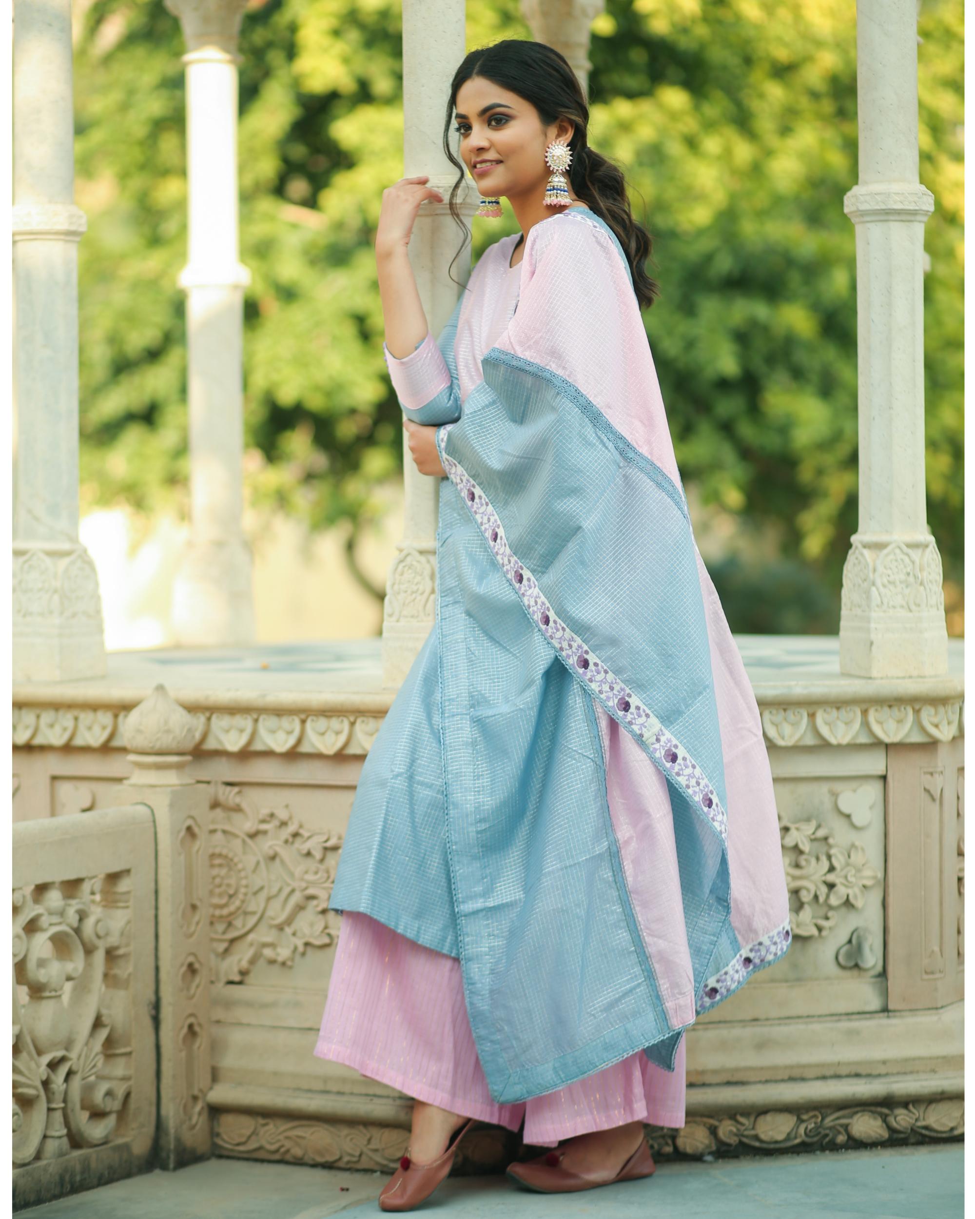 Frost blue and baby pink checkered chanderi kurta and gharara with dupatta- set of three