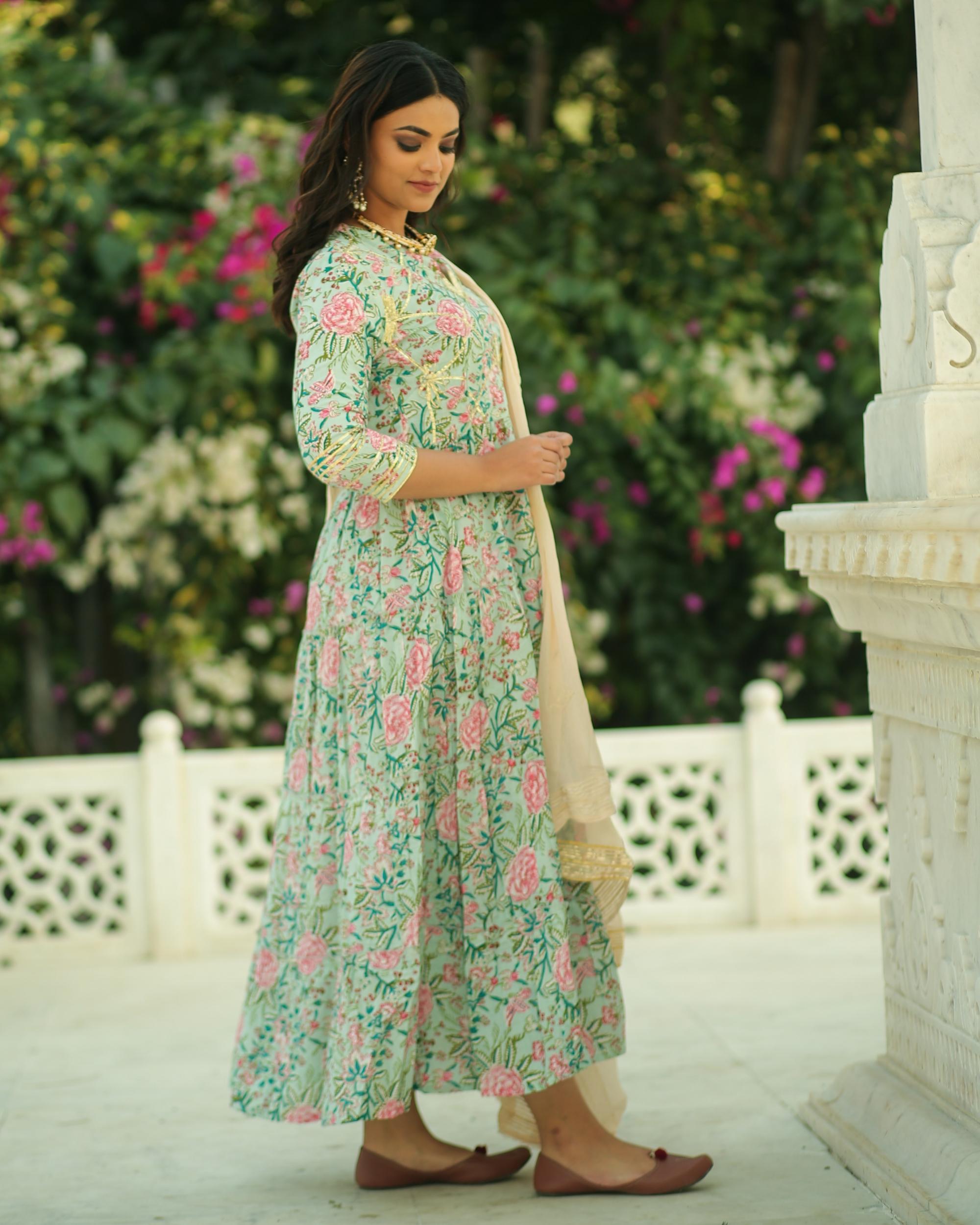 Pastel green and pink floral printed gota kurta and pants with chiffon dupatta- set of three